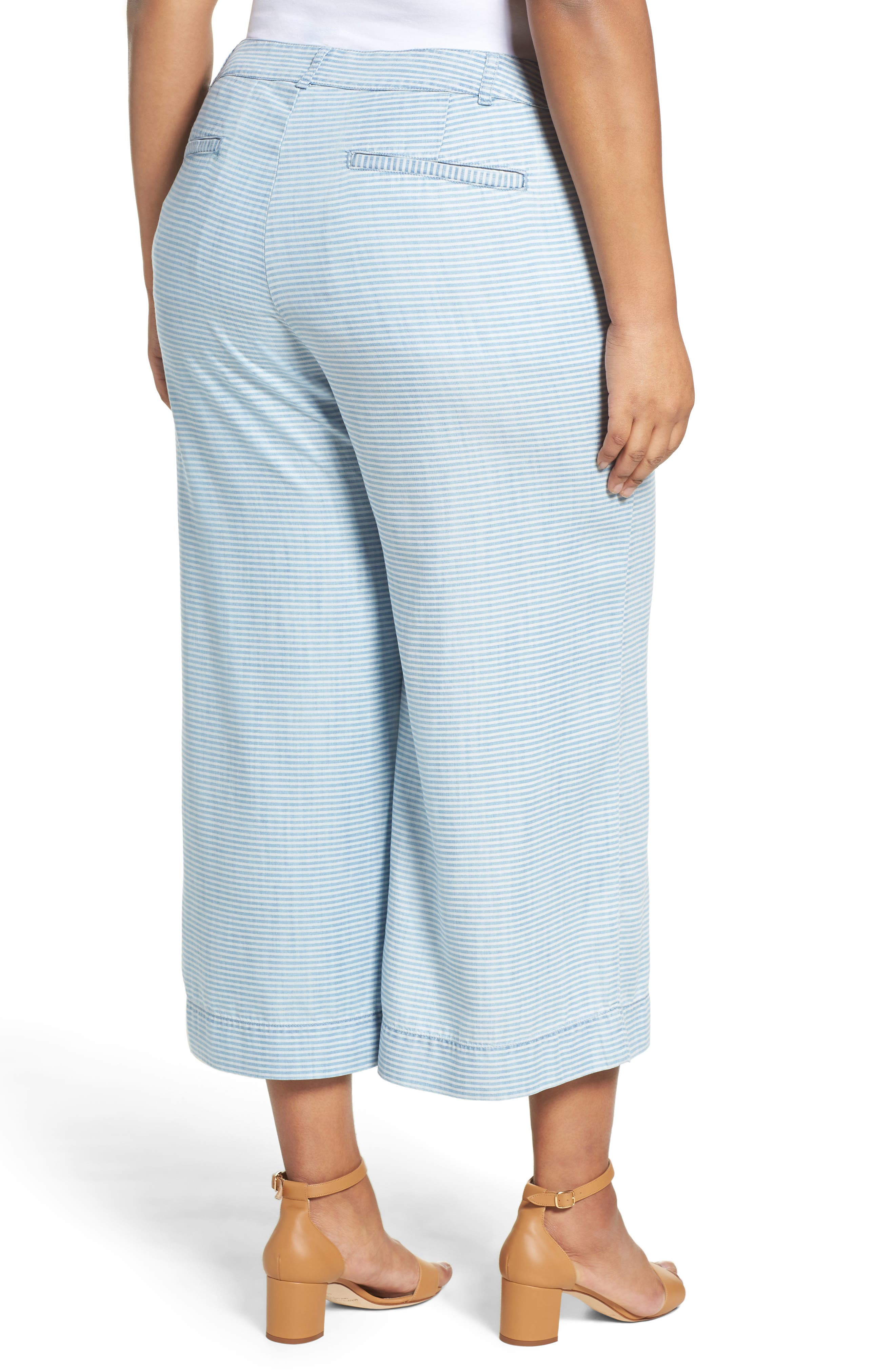 Pinstripe Denim Wide Leg Capri Pants,                             Alternate thumbnail 2, color,