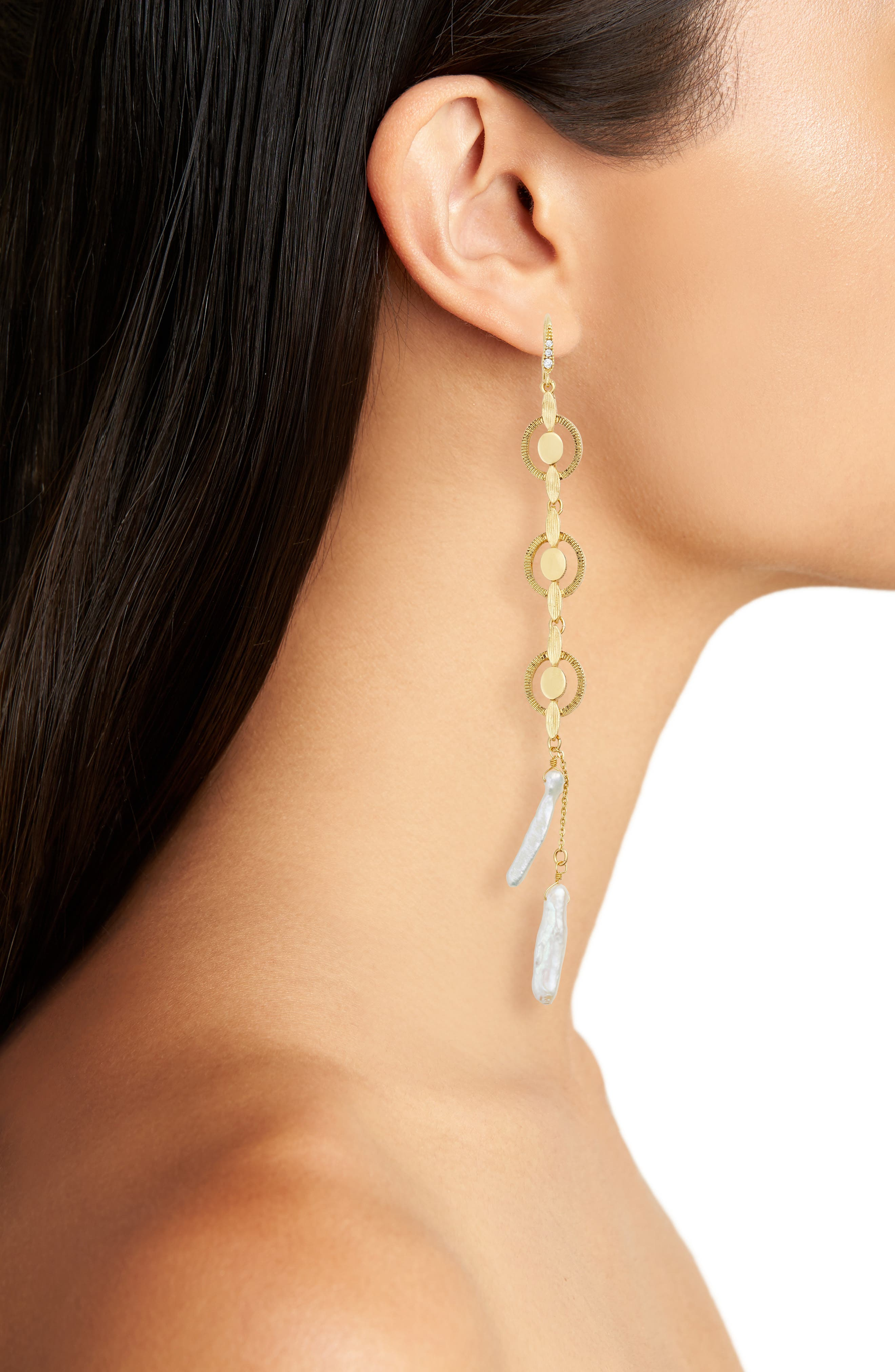 BADGLEY MISCHKA COLLECTION,                             Badgley Mischka Katie Freshwater Pearl Linear Drop Earrings,                             Alternate thumbnail 2, color,                             GOLD