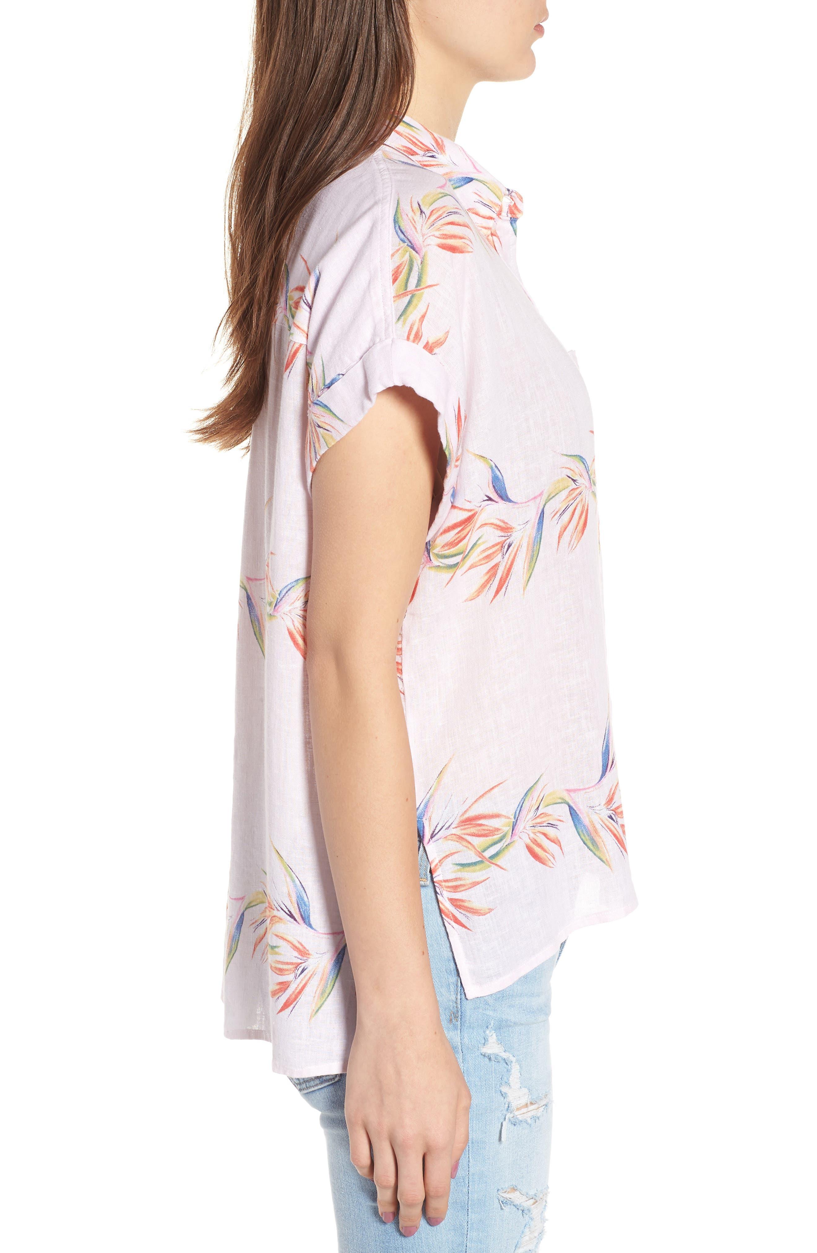 Whitney Print Shirt,                             Alternate thumbnail 3, color,                             BLUSH BIRDS OF PARADISE