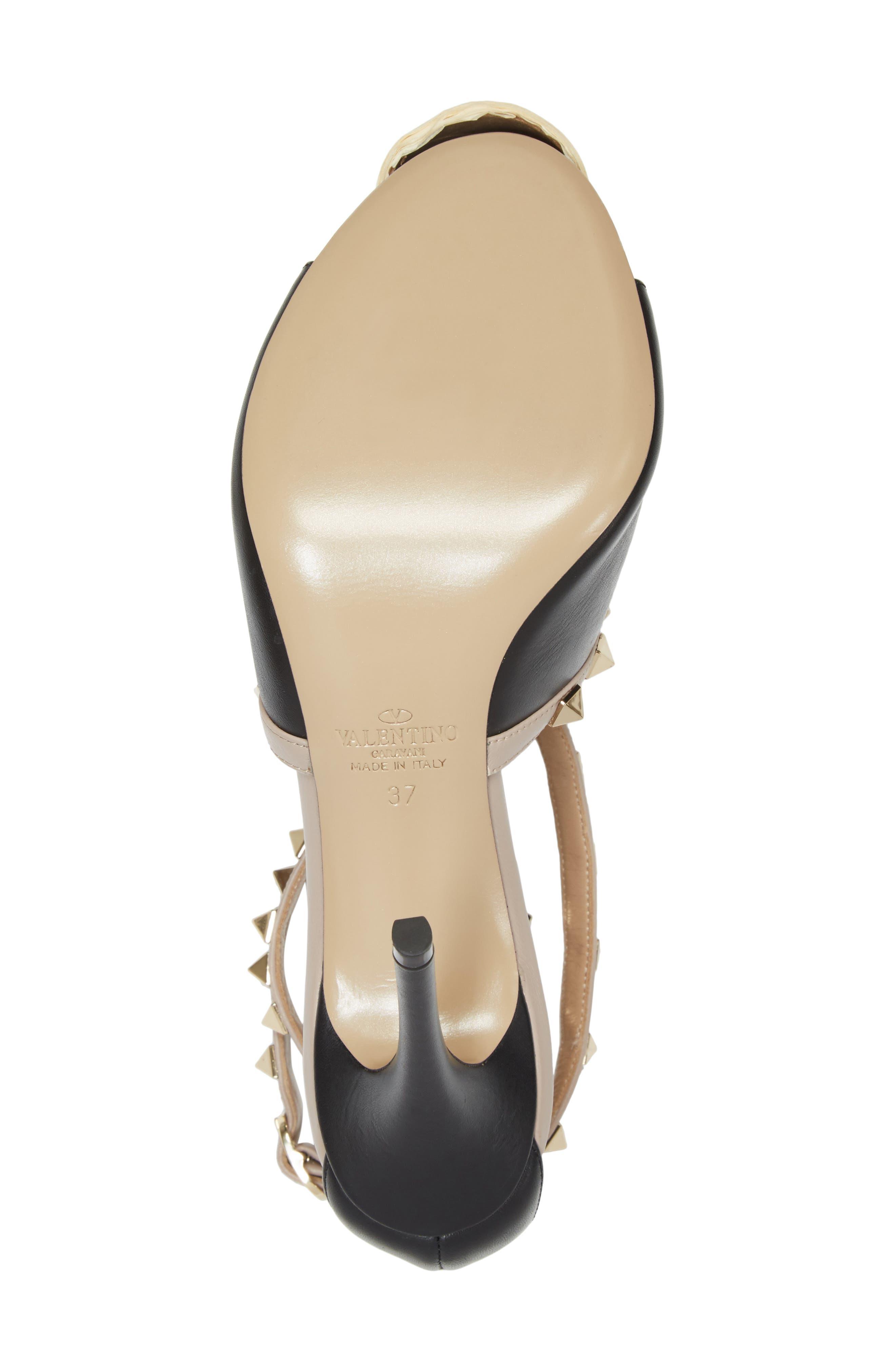 Rockstud Peep Toe Sandal,                             Alternate thumbnail 6, color,                             BLACK/ BEIGE