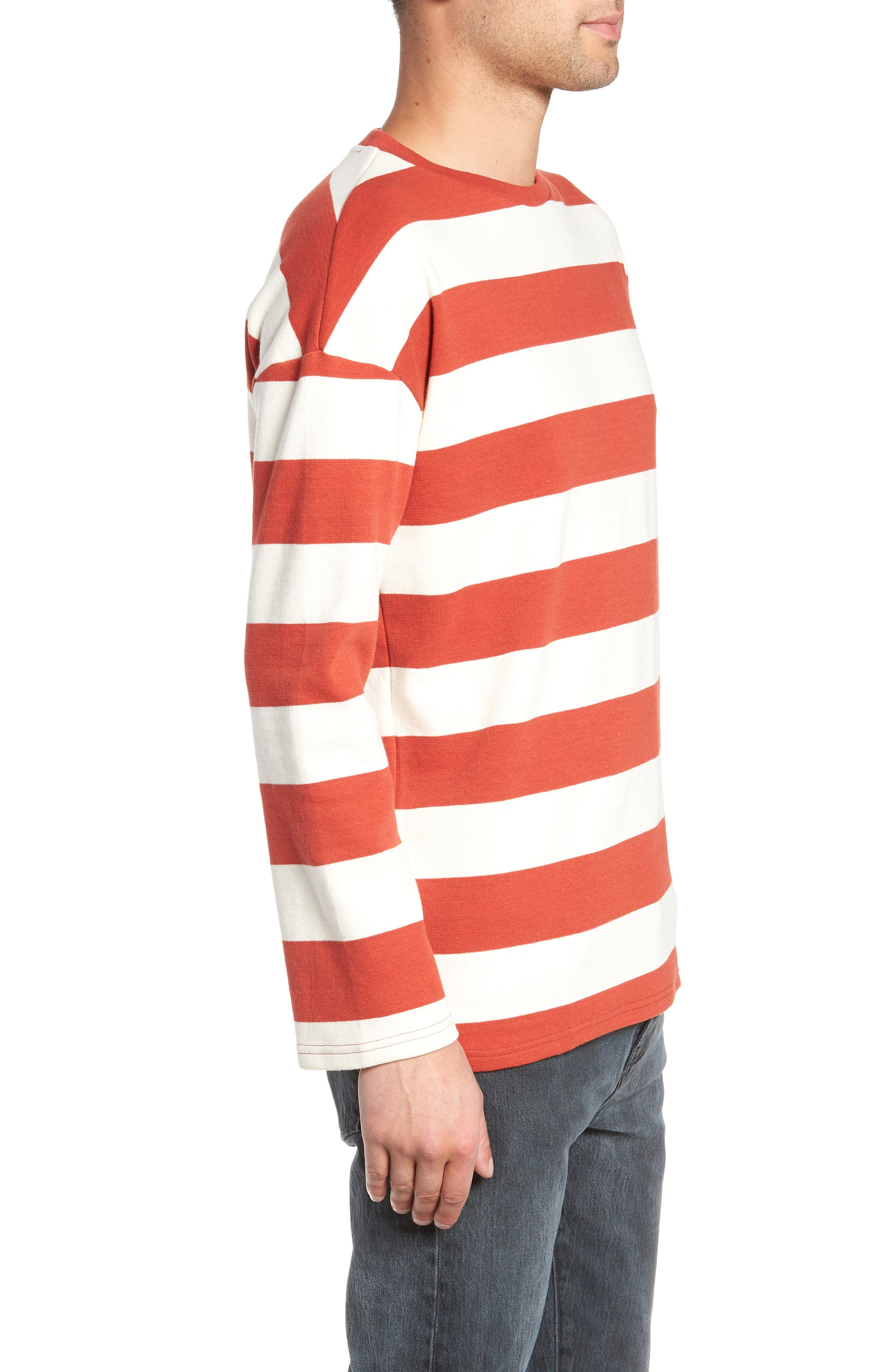 Stripe Crewneck Sweatshirt,                             Alternate thumbnail 3, color,                             ORANGE