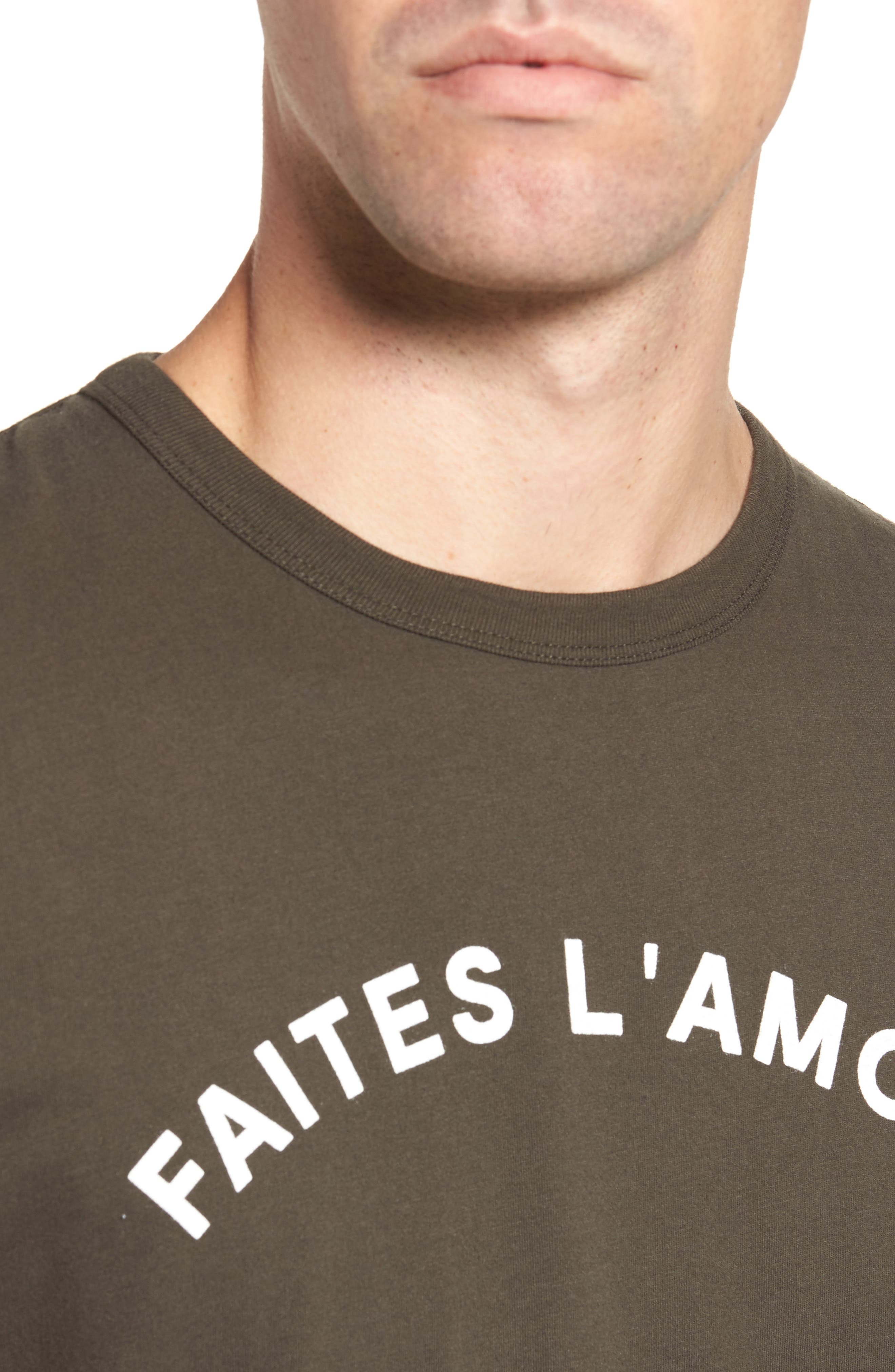 Faites L'Amour Regular Fit T-Shirt,                             Alternate thumbnail 4, color,                             001