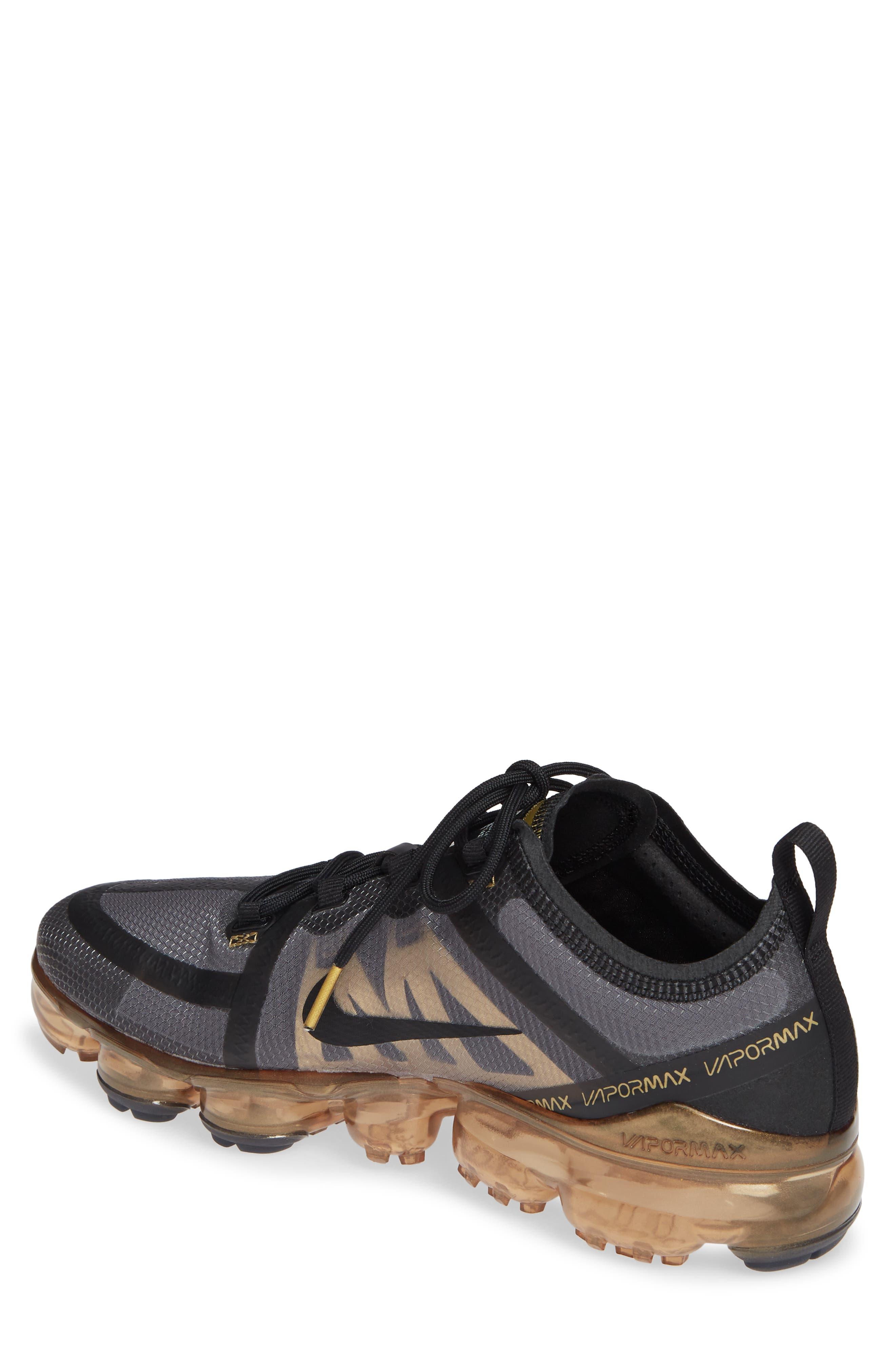 NIKE,                             Air VaporMax 2019 Running Shoe,                             Alternate thumbnail 2, color,                             BLACK/ METALLIC GOLD