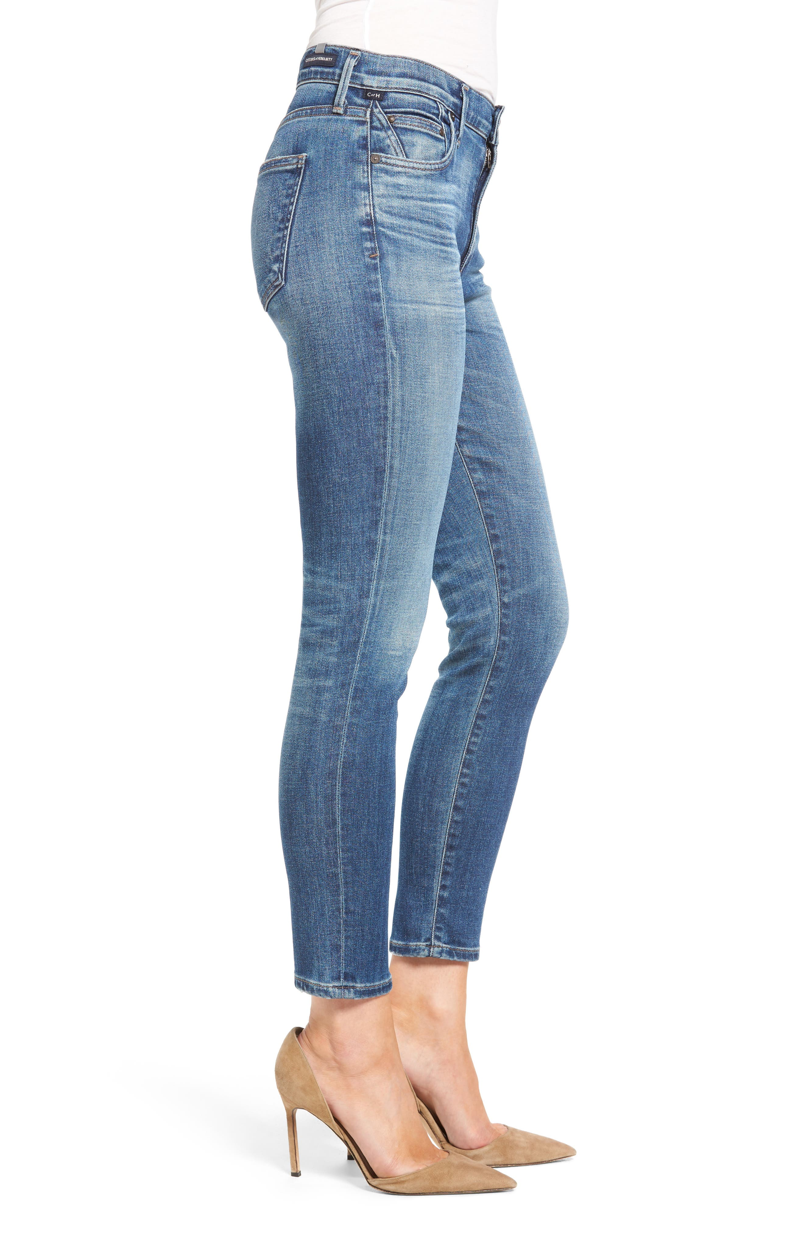 Rocket High Waist Crop Skinny Jeans,                             Alternate thumbnail 3, color,                             409