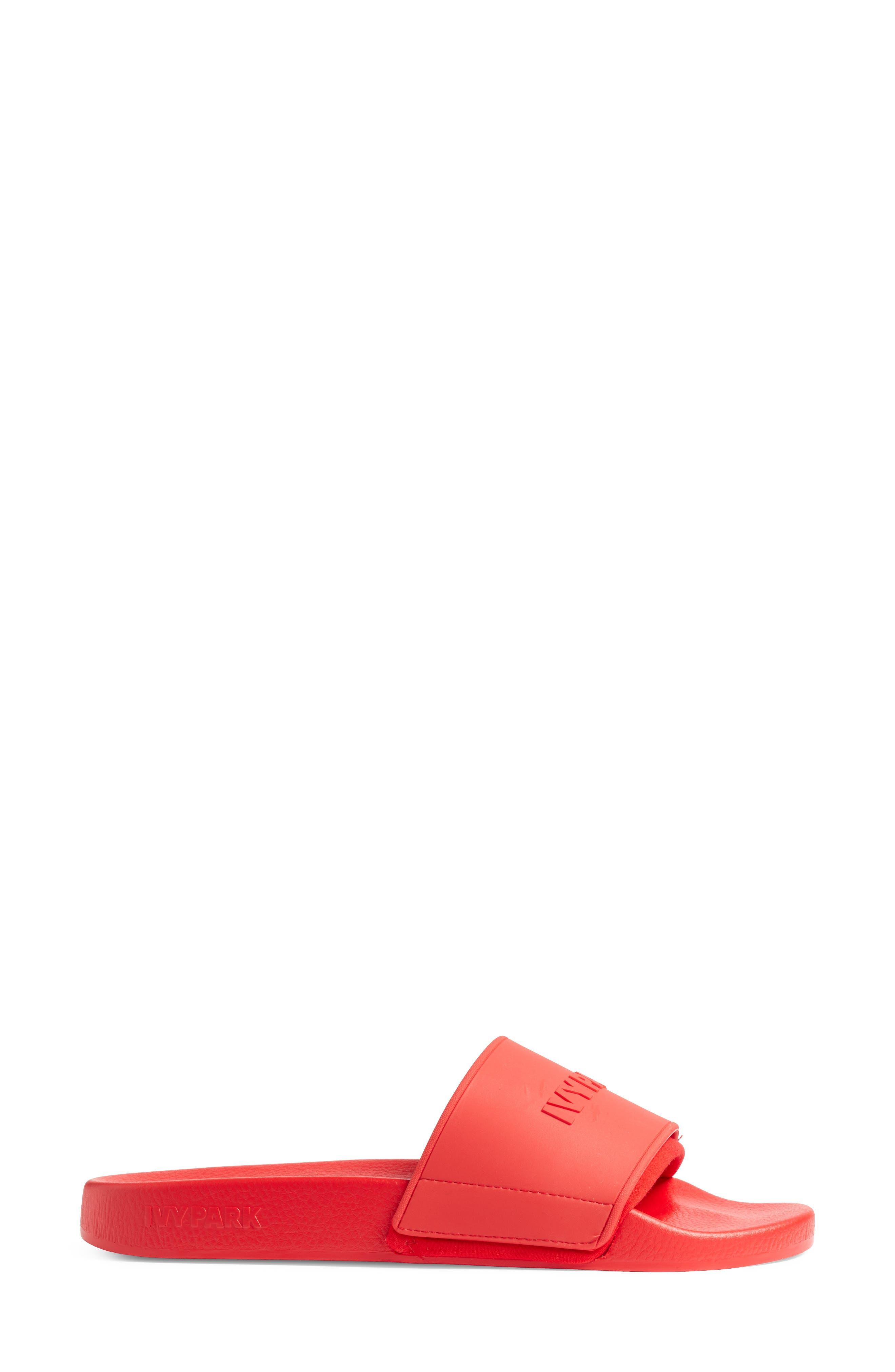 Embossed Logo Slide Sandal,                             Alternate thumbnail 3, color,                             FIERY RED