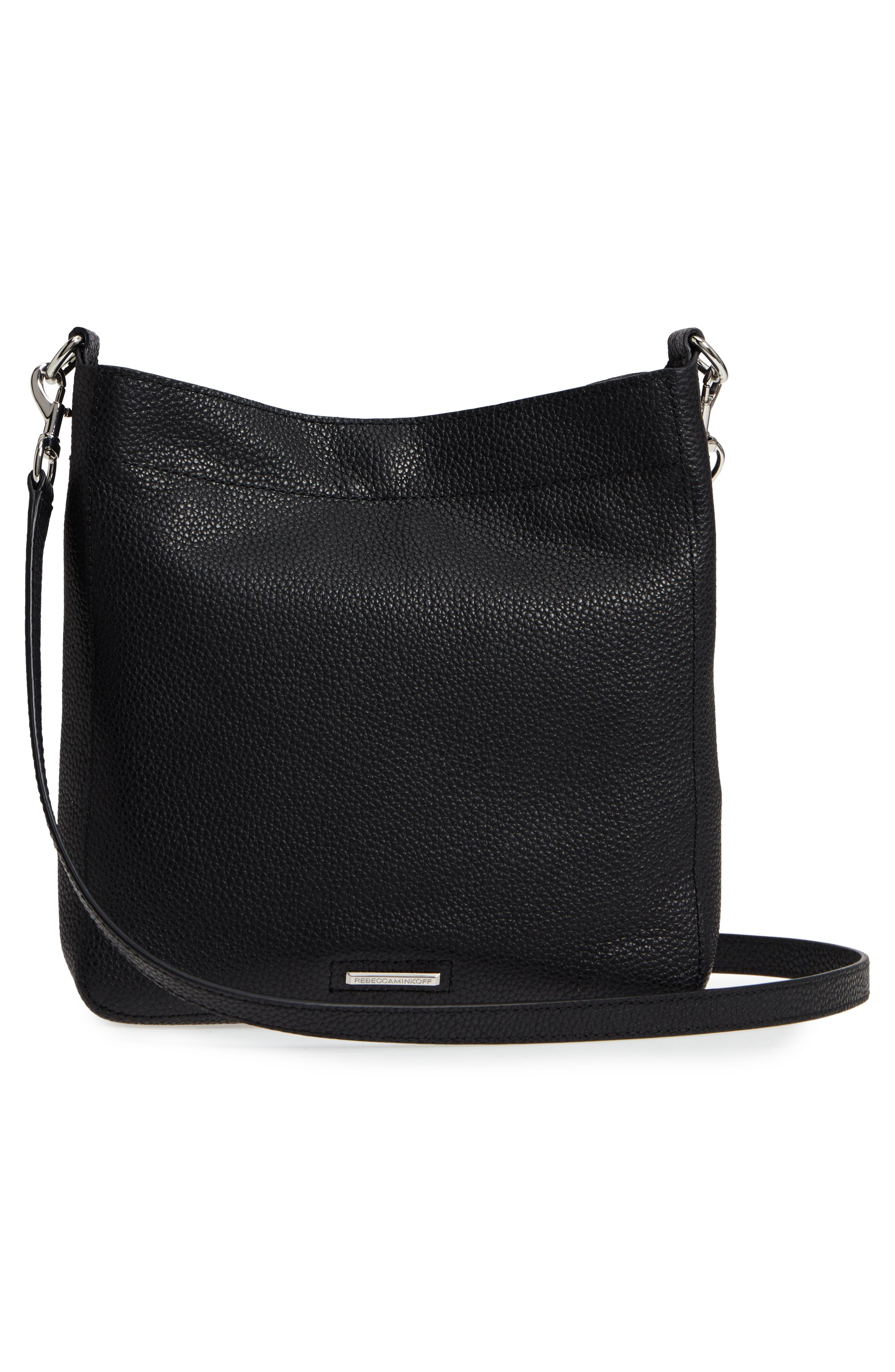 Small Darren Leather Feed Bag,                             Alternate thumbnail 3, color,                             BLACK