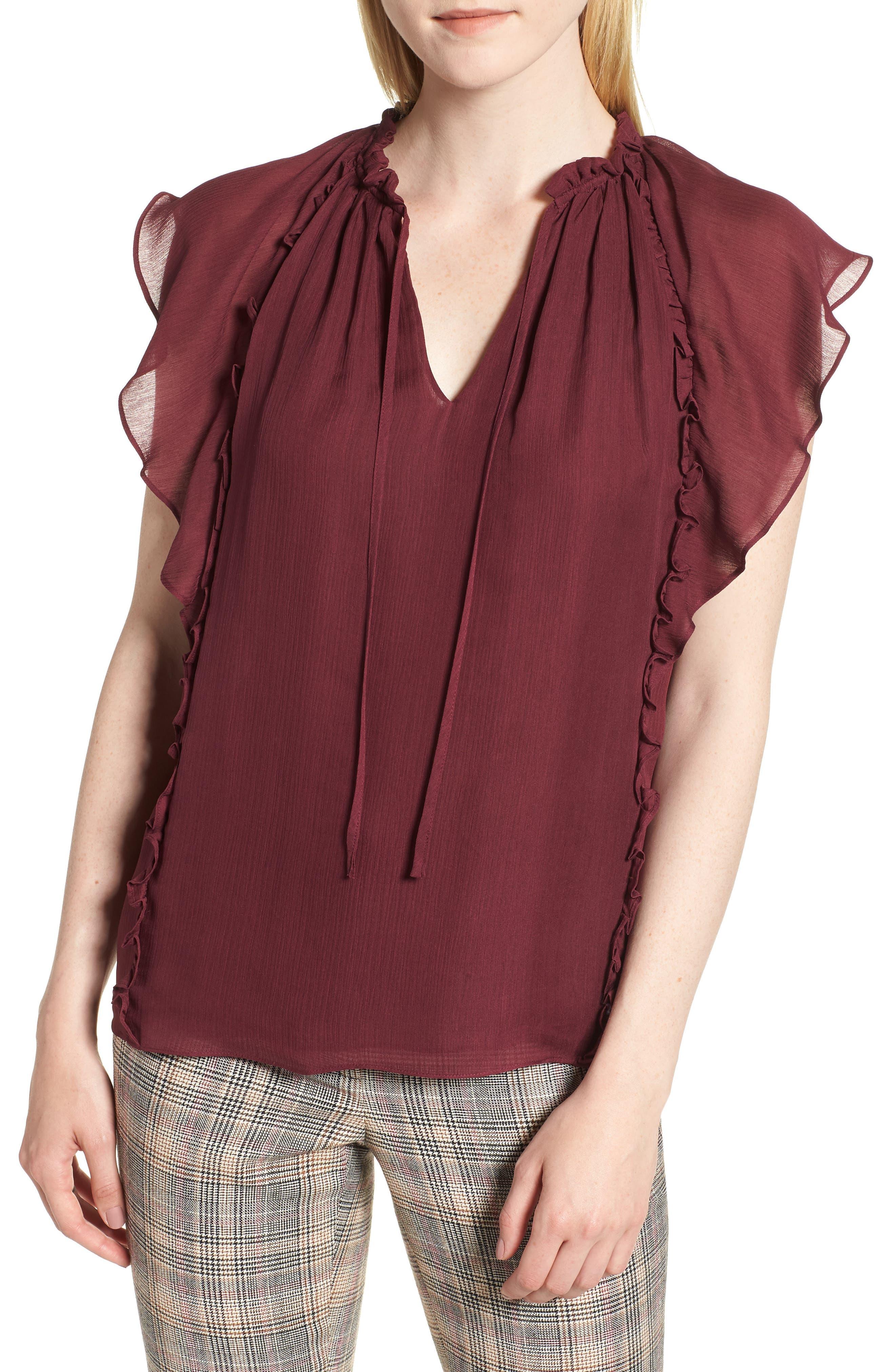 Flutter Sleeve Silk Top,                         Main,                         color, BURGUNDY FIG