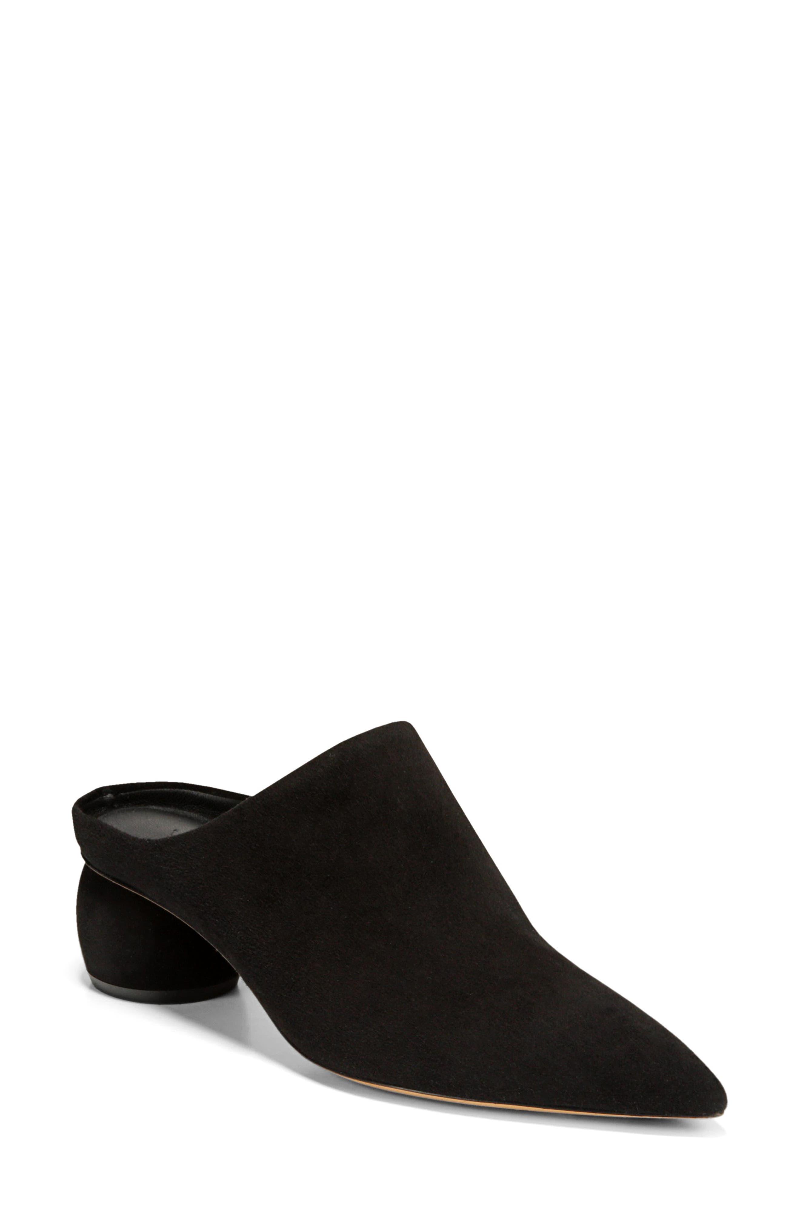 Eaton Pointy Toe Mule,                         Main,                         color, BLACK SUEDE