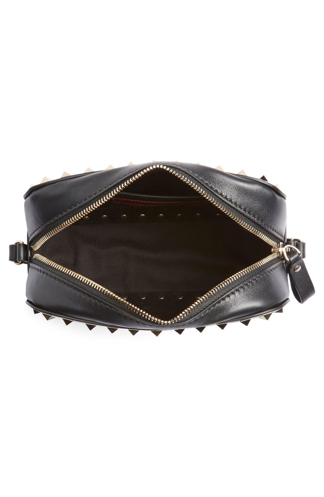 'Rockstud' Calfskin Leather Camera Crossbody Bag,                             Alternate thumbnail 10, color,                             NERO