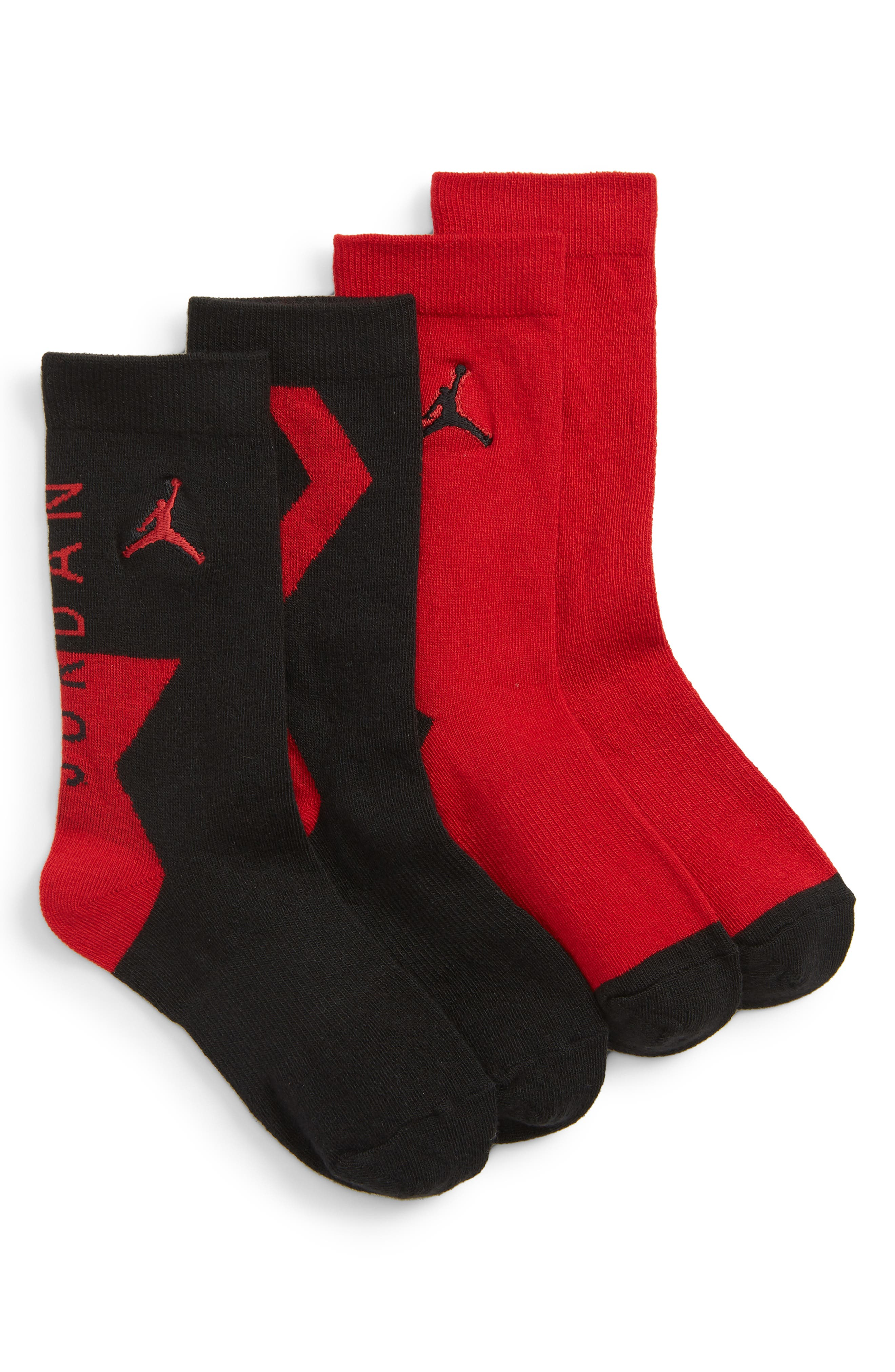2-Pack Jordan Raise Up High Crew Socks,                             Main thumbnail 1, color,                             BLACK