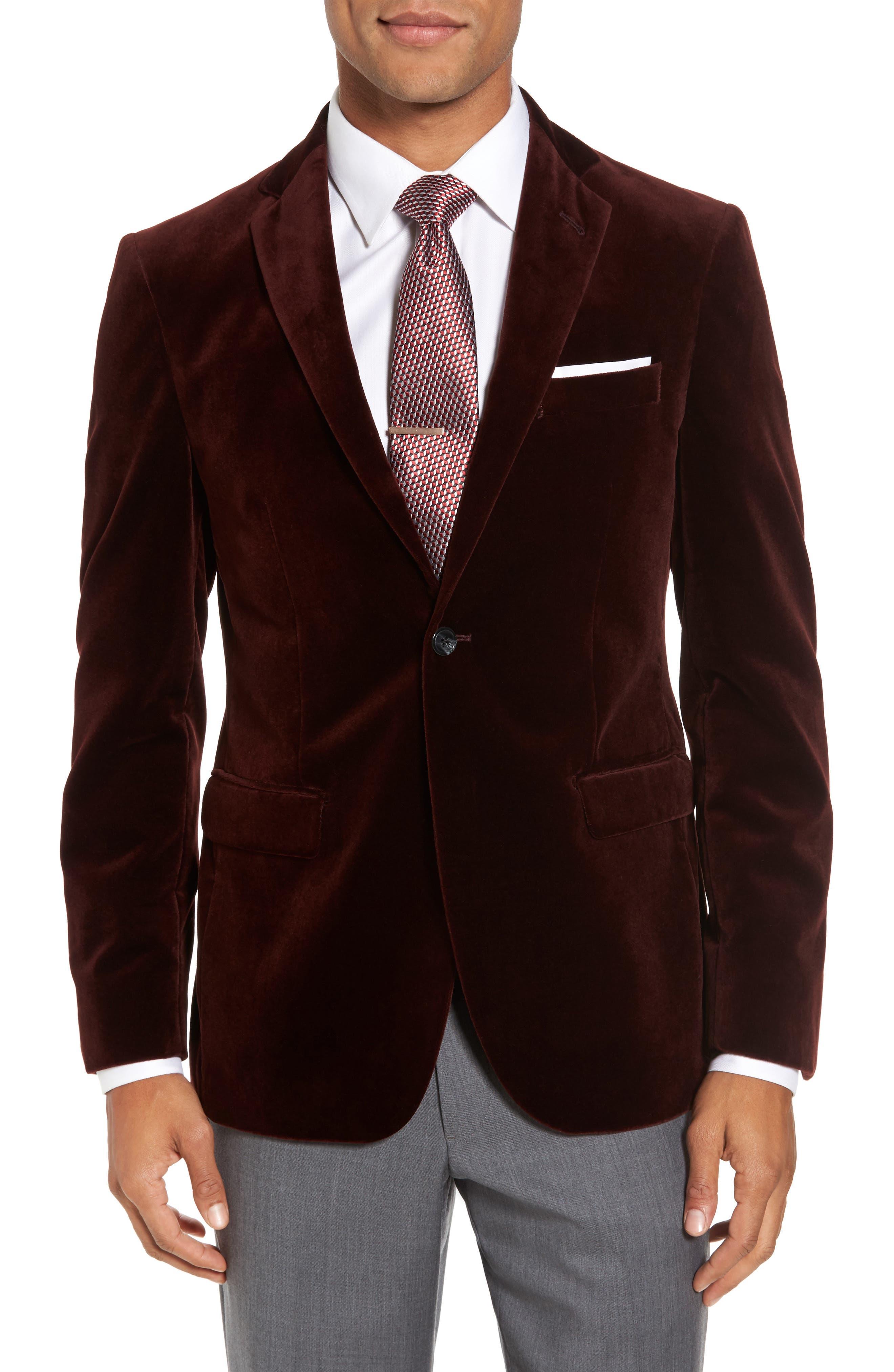 Noble Trim Fit Velvet Blazer,                         Main,                         color, 935