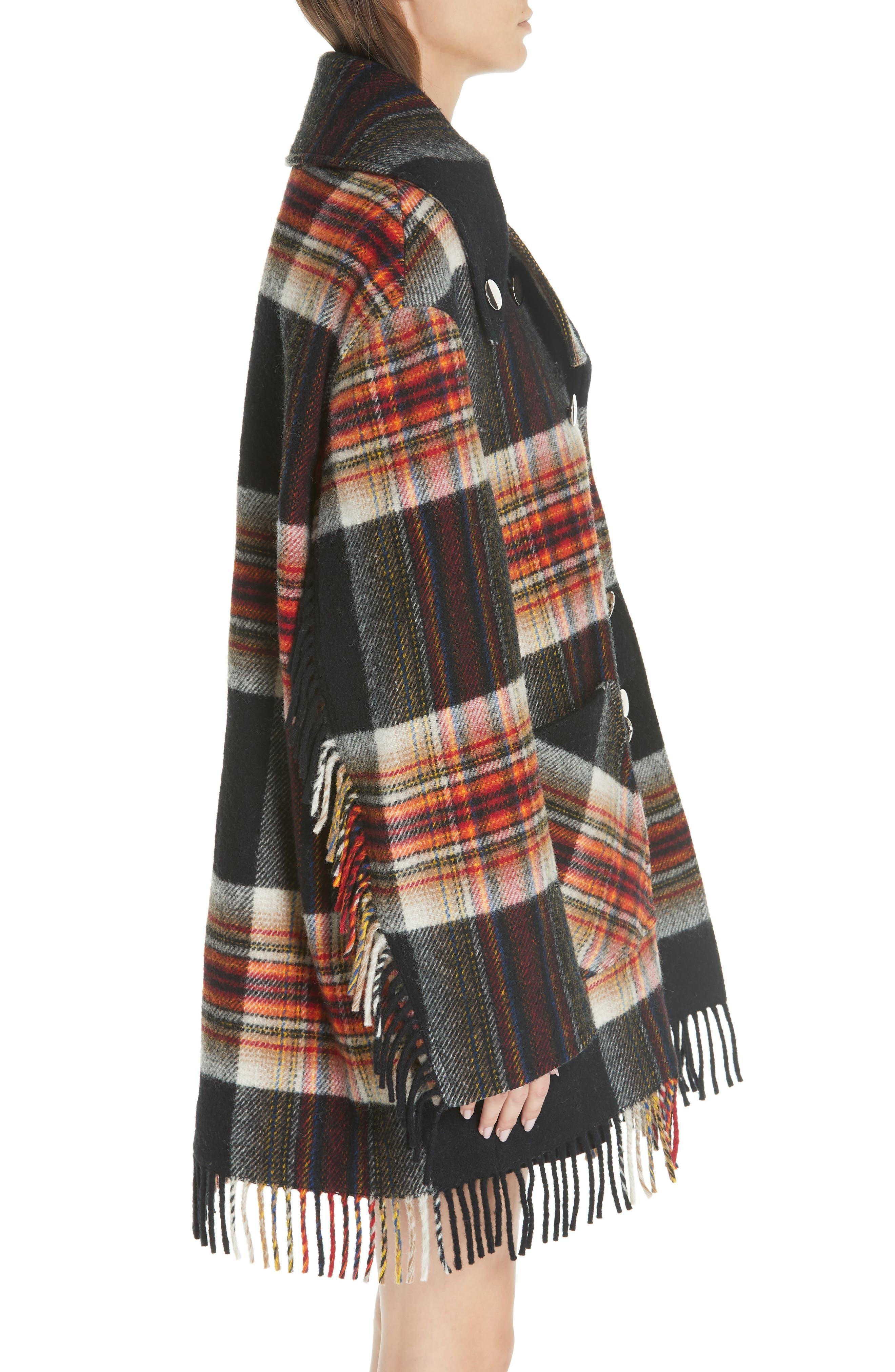 x Pendleton Fringe Plaid Blanket Coat,                             Alternate thumbnail 3, color,                             001