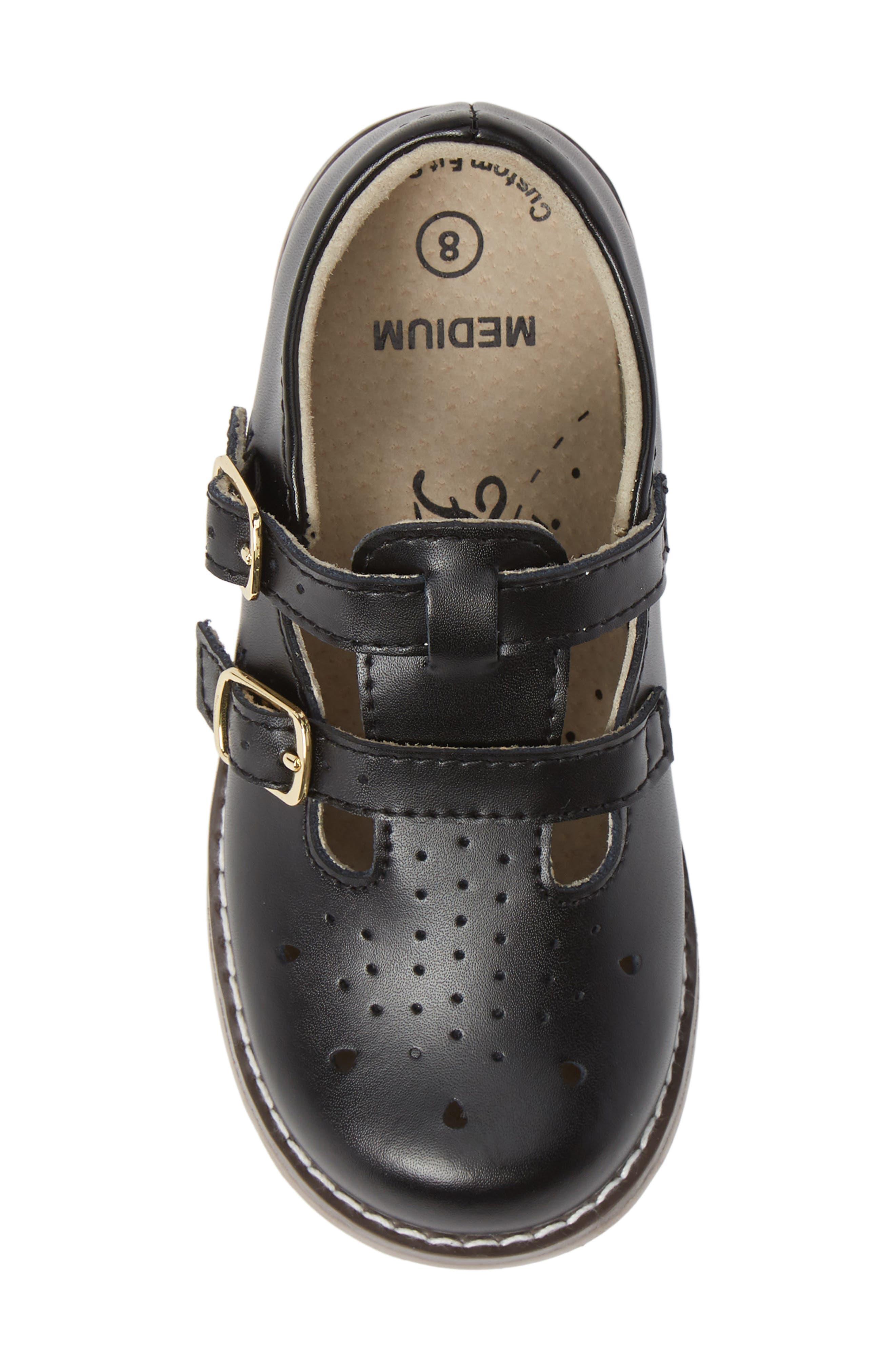 FOOTMATES,                             Danielle Double Strap Shoe,                             Alternate thumbnail 5, color,                             BLACK