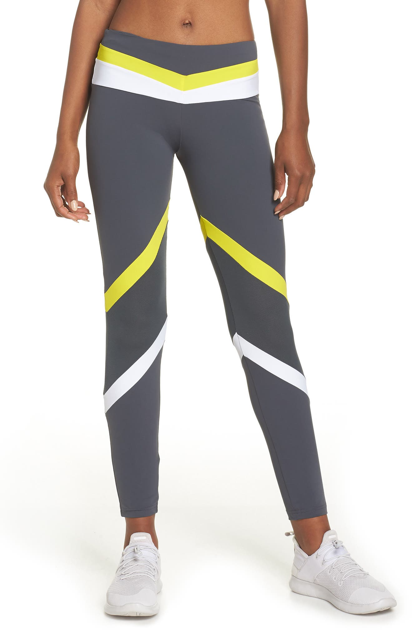 BoomBoom Athletica Tricolor Leggings,                             Main thumbnail 1, color,                             GREY/ WHITE/ YELLOW