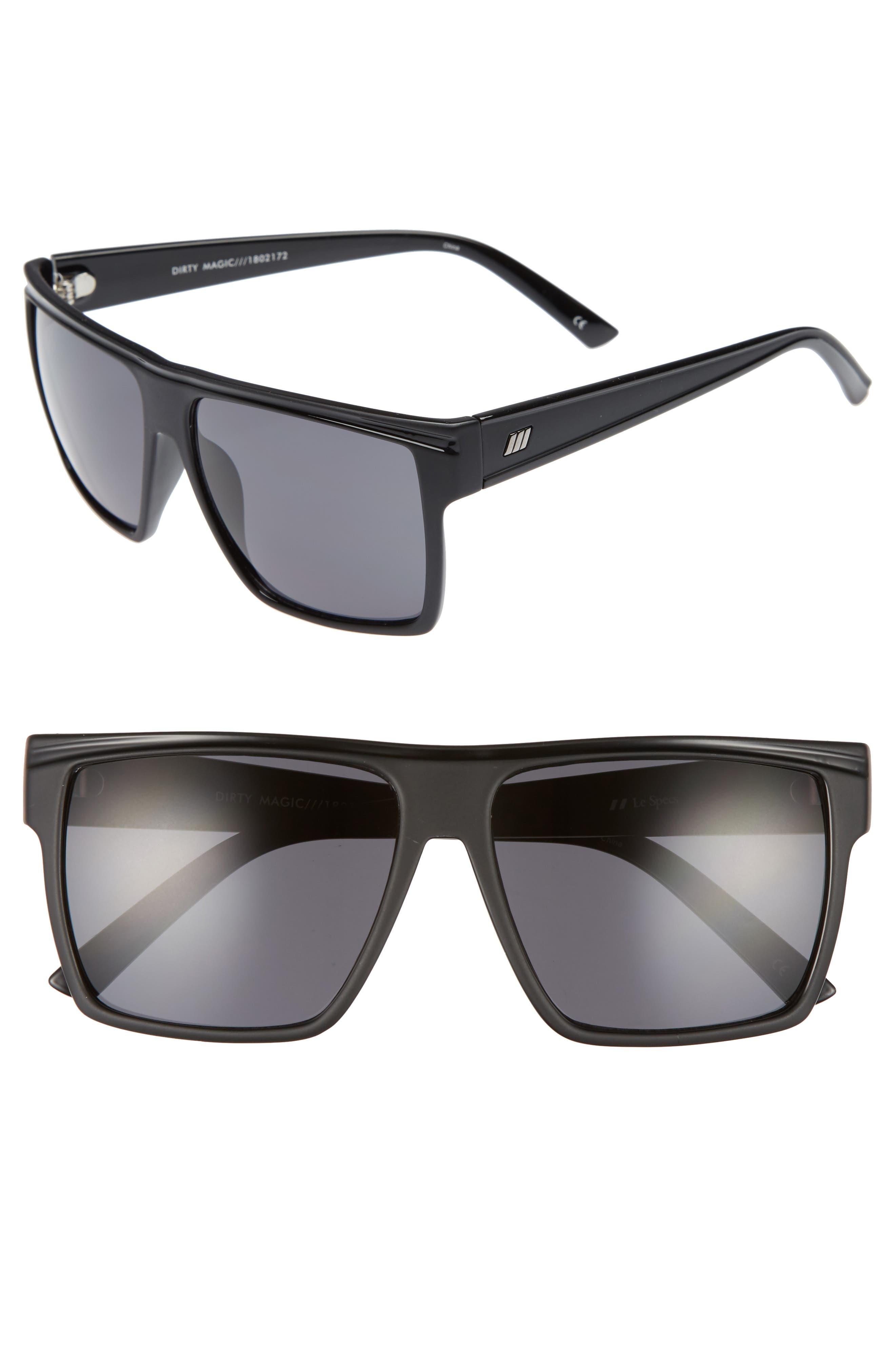 Dirty Magic 56mm Rectangle Sunglasses,                         Main,                         color, MATTE BLACK