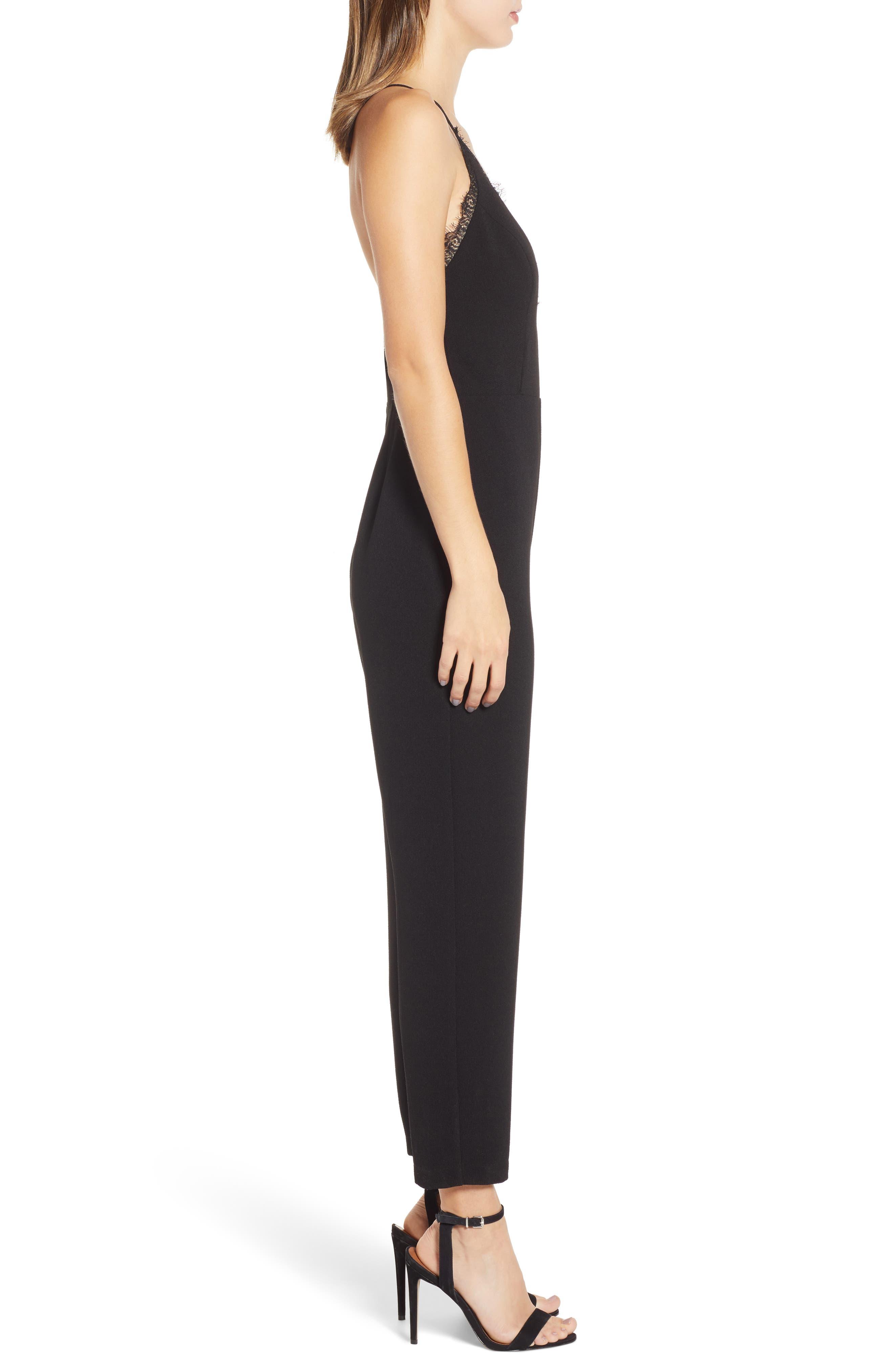 LEITH,                             Deep V-Neck Lace Trim Jumpsuit,                             Alternate thumbnail 3, color,                             BLACK