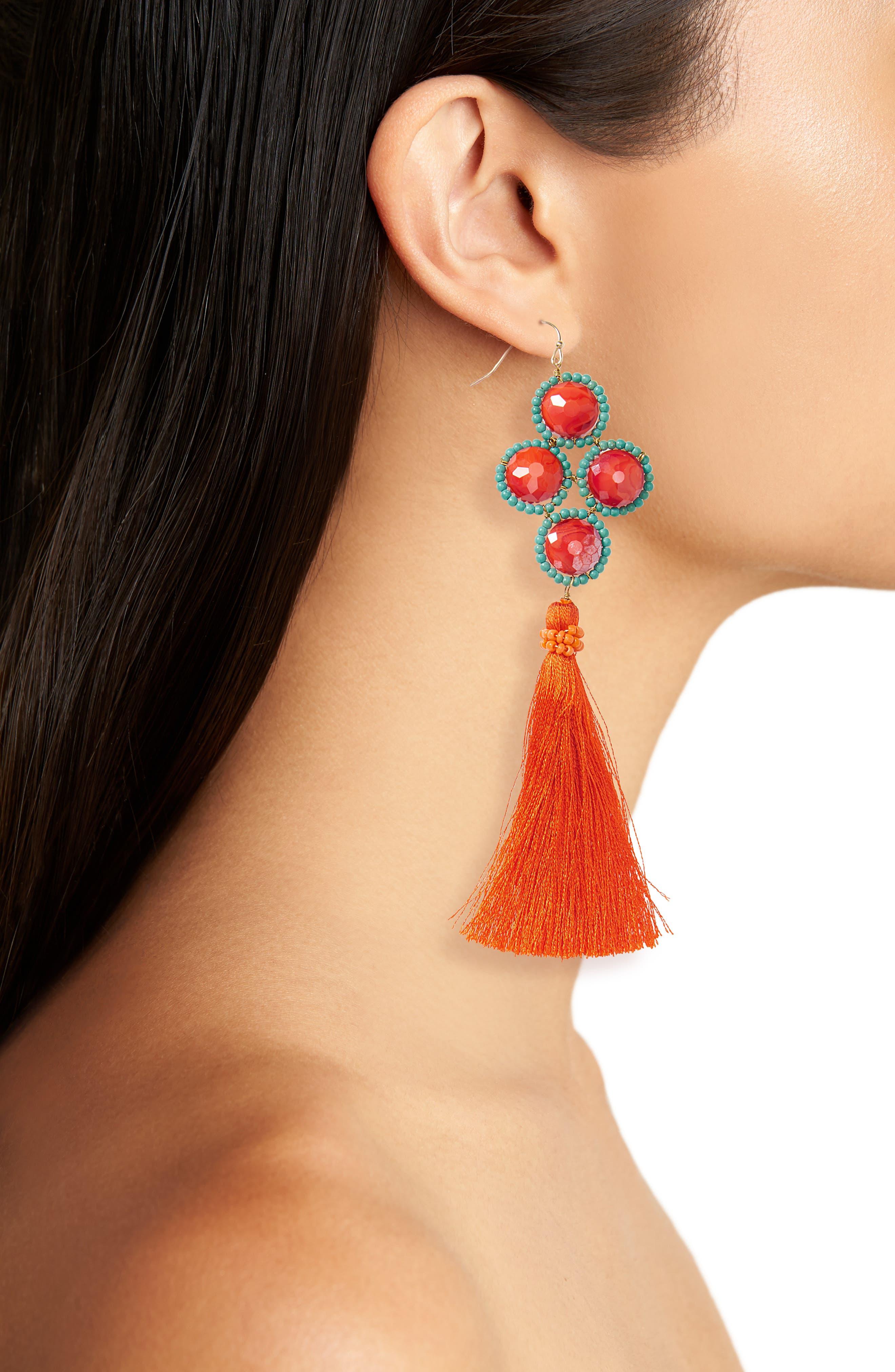 Howlite Stone Tassel Earrings,                             Alternate thumbnail 2, color,                             600
