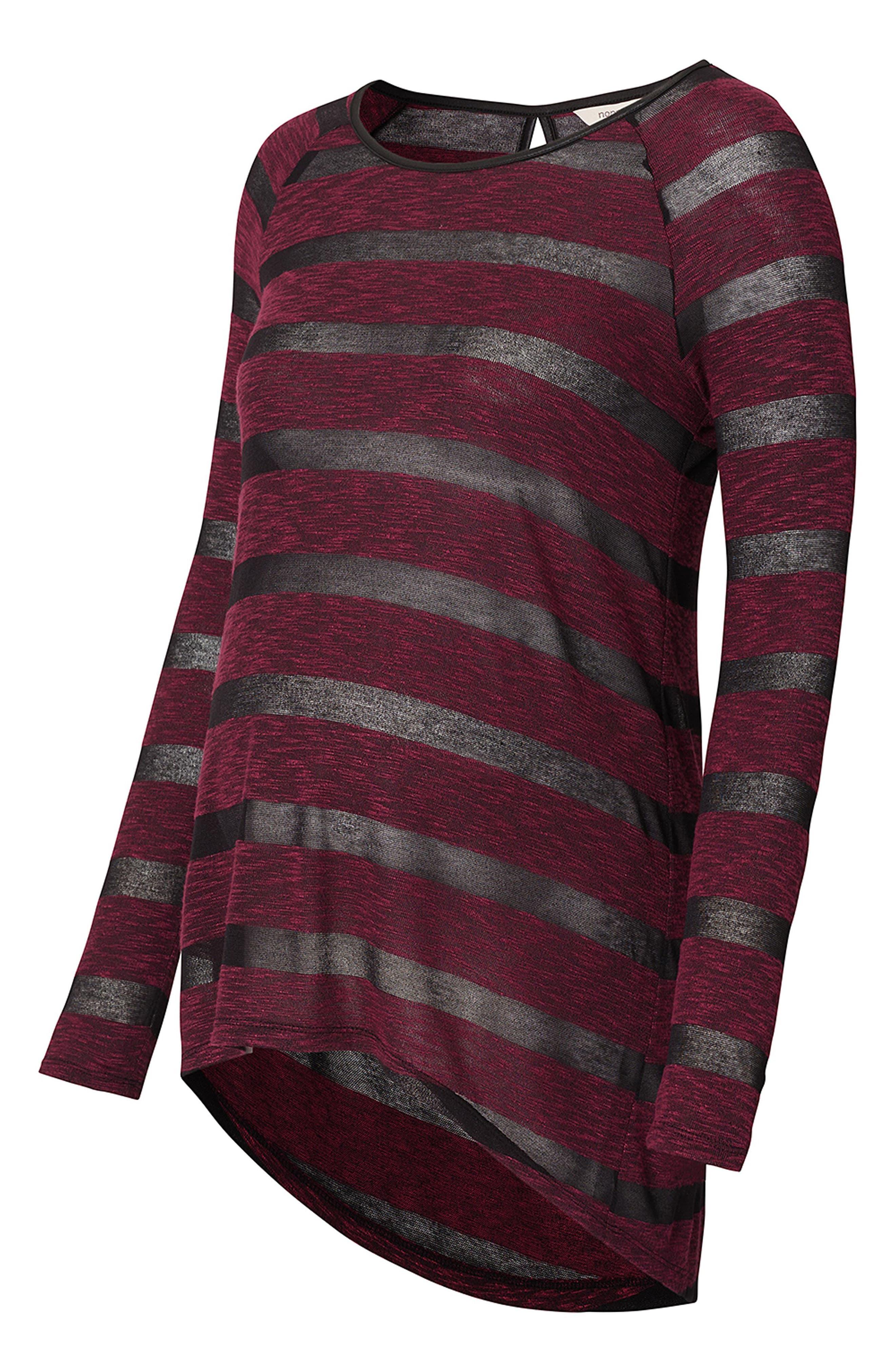 Stripe Maternity Tunic,                             Alternate thumbnail 2, color,                             WINE