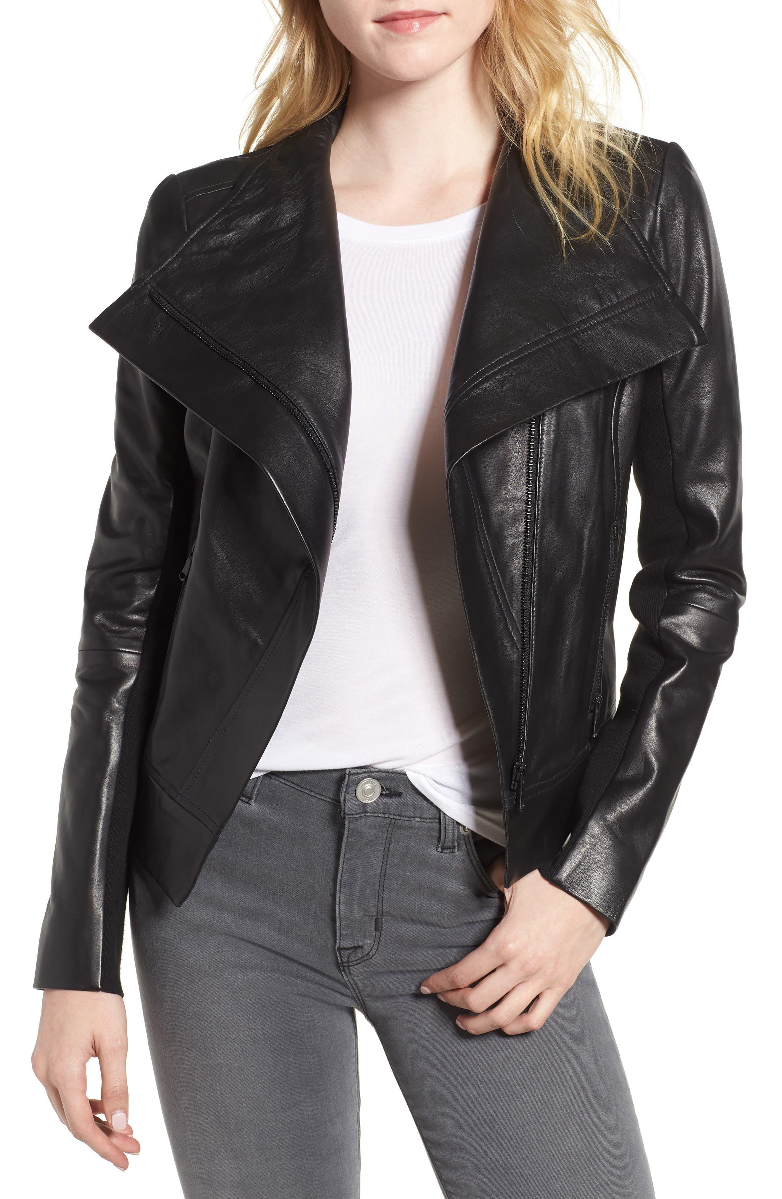 Drape Front Leather Jacket,                         Main,                         color, BLACK