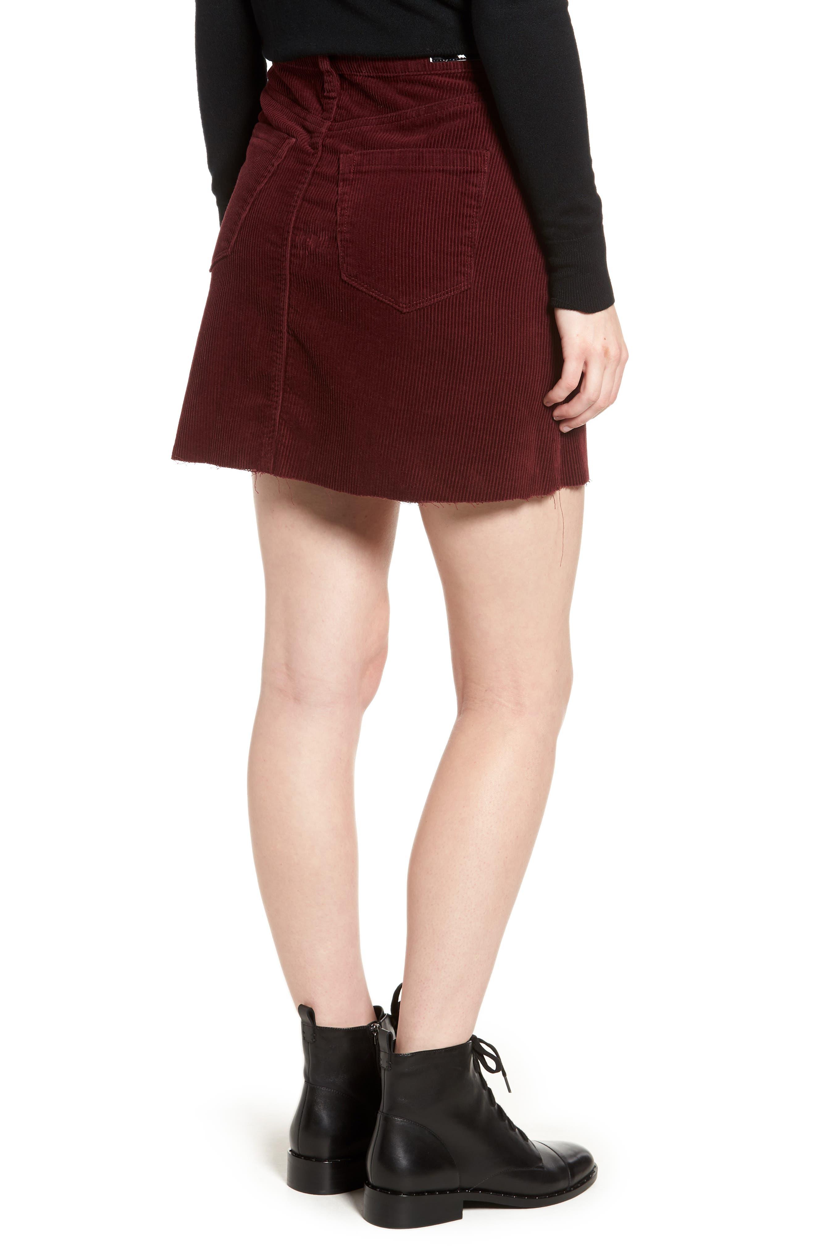 Corduroy A-Line Miniskirt,                             Alternate thumbnail 2, color,                             MERLOT