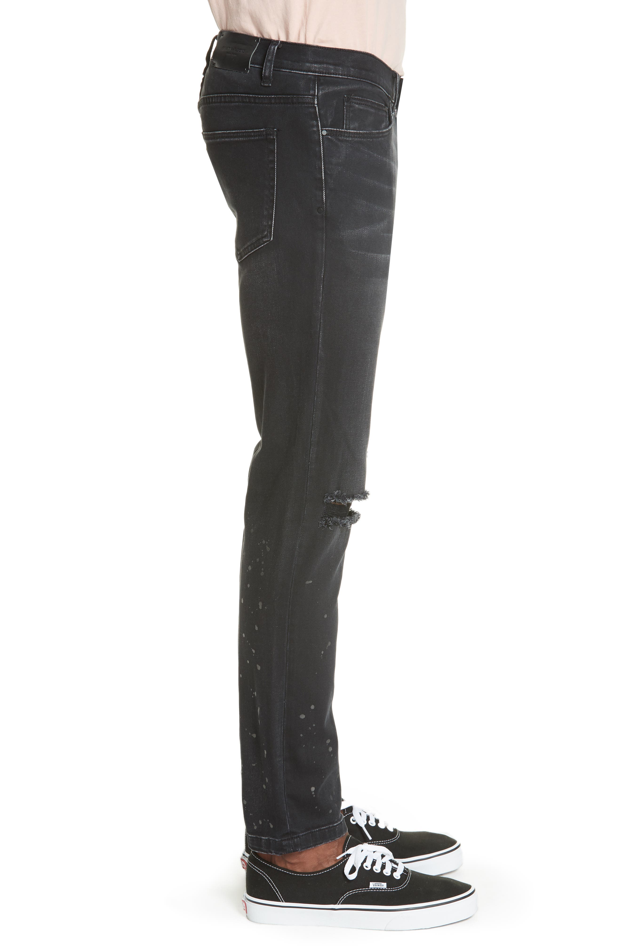 Distressed Slim Fit Jeans,                             Alternate thumbnail 3, color,                             BLACK