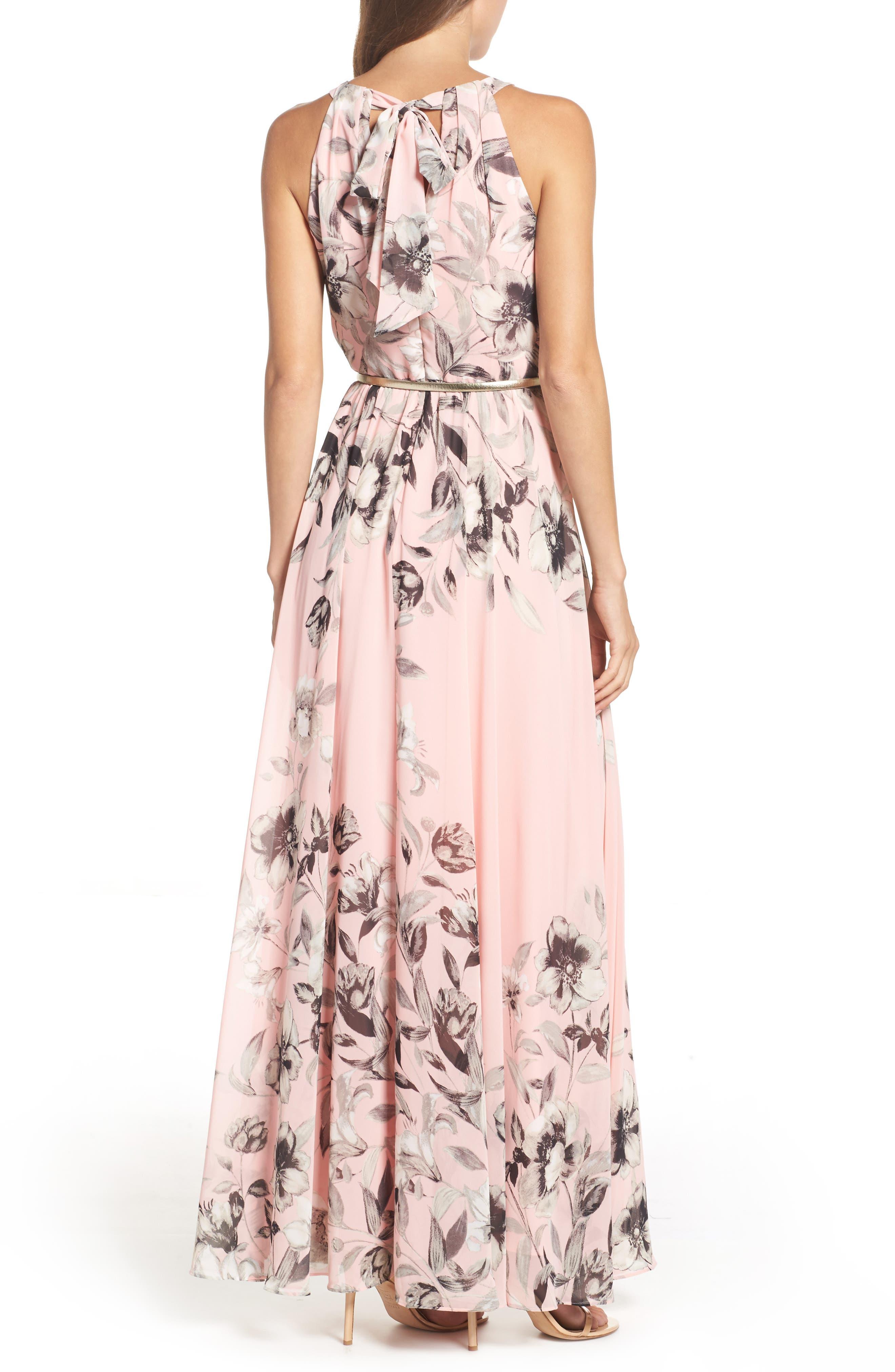 Belted Chiffon Maxi Dress,                             Alternate thumbnail 3, color,                             PINK MULTI