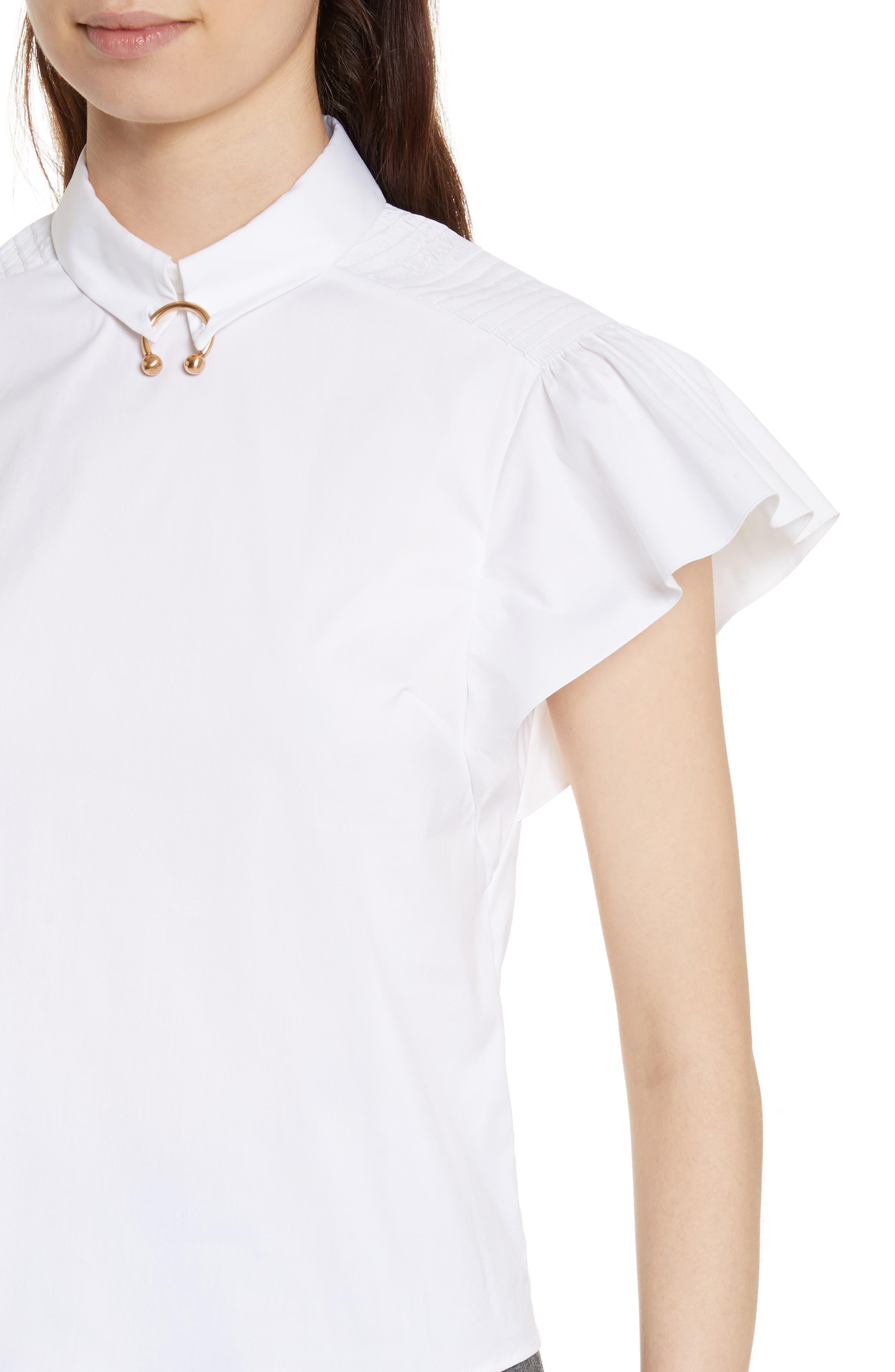 Pierced Cotton Poplin Shirt,                             Alternate thumbnail 4, color,                             100