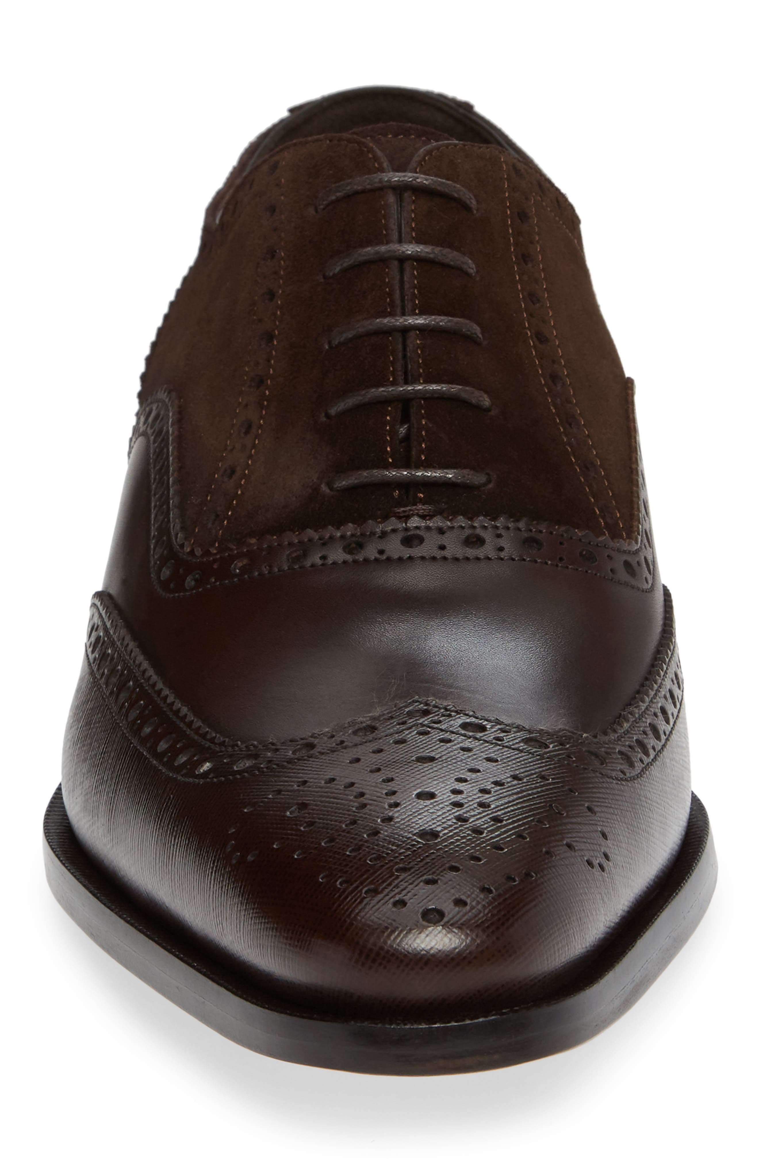 Cologne Wingtip,                             Alternate thumbnail 4, color,                             BROWN SUEDE/ LEATHER