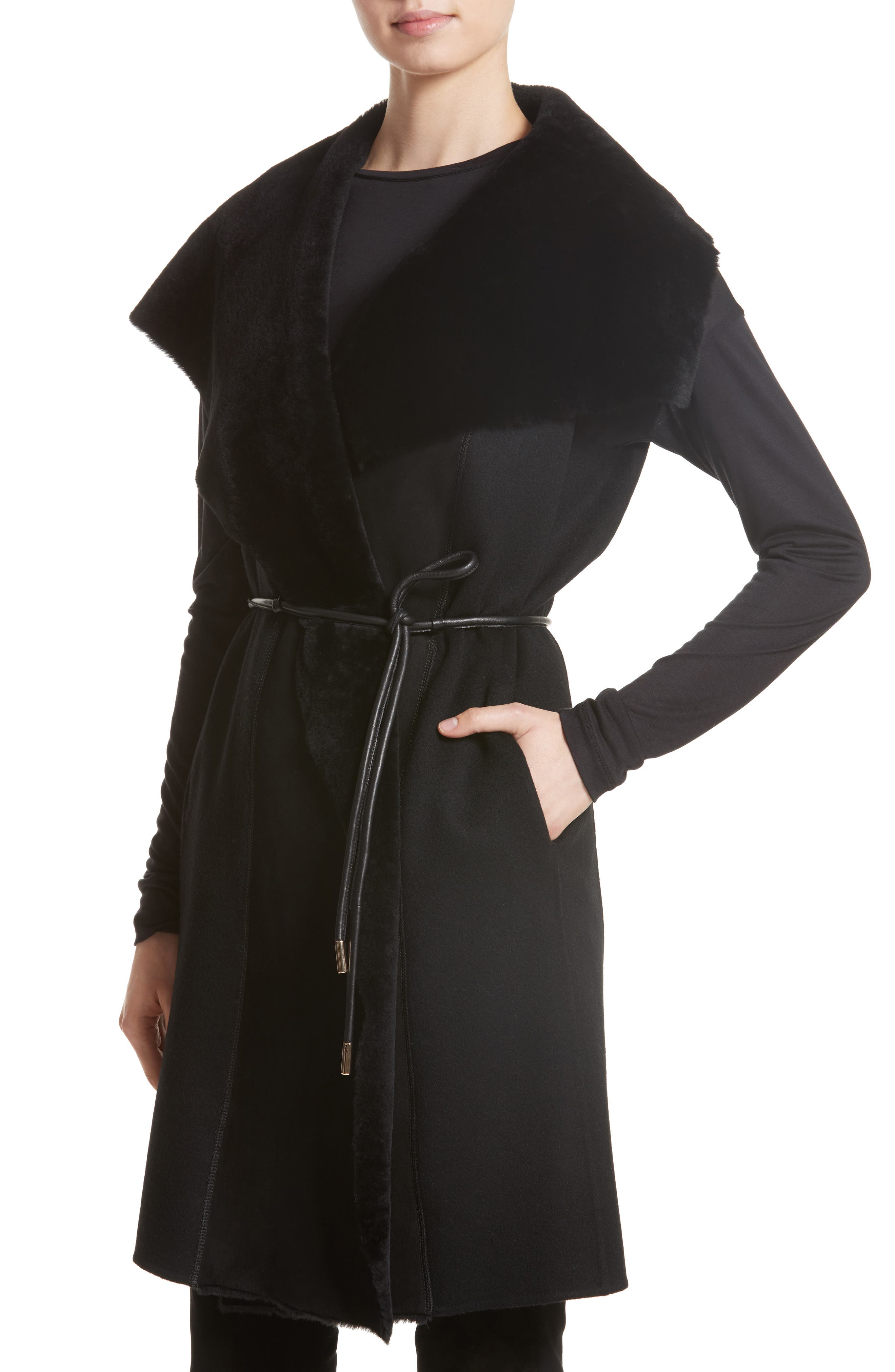Divya Reversible Vest with Genuine Shearling Trim,                             Alternate thumbnail 5, color,                             001