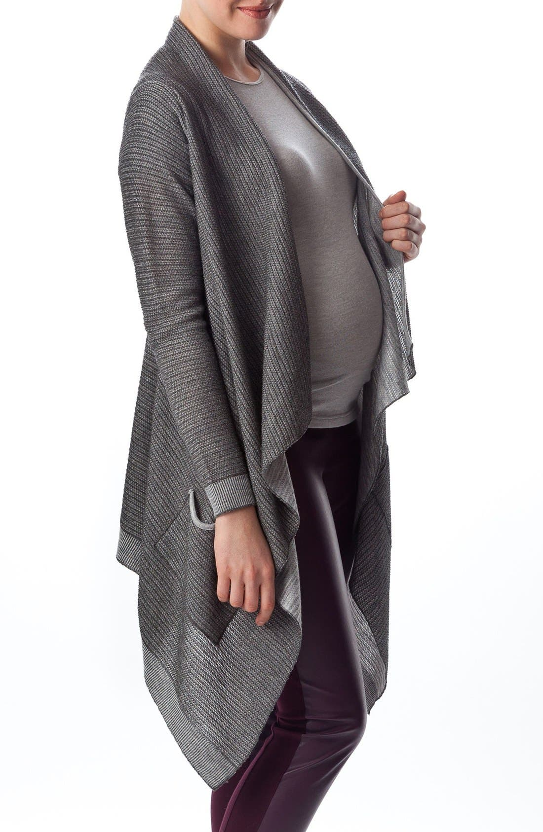 'Merano' Maternity Drape Front Cardigan,                             Alternate thumbnail 3, color,                             040