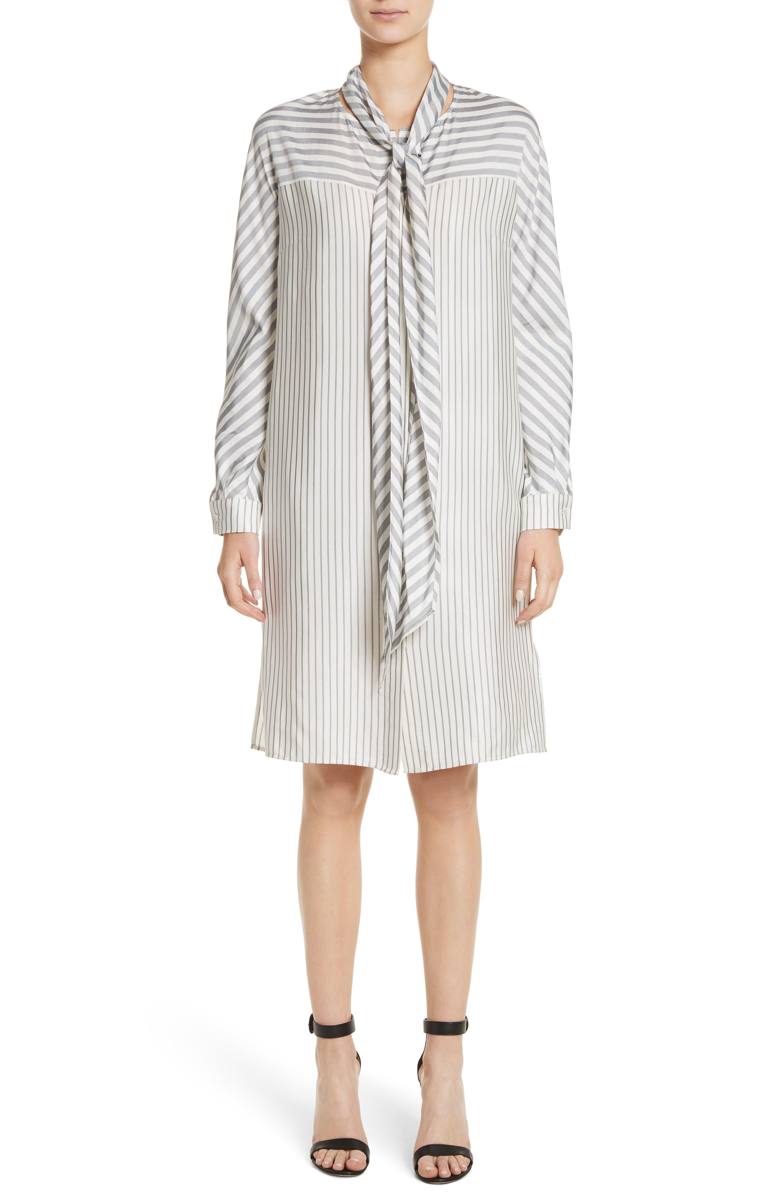ST. JOHN COLLECTION Stripe Tie Neck Shirtdress, Main, color, 900