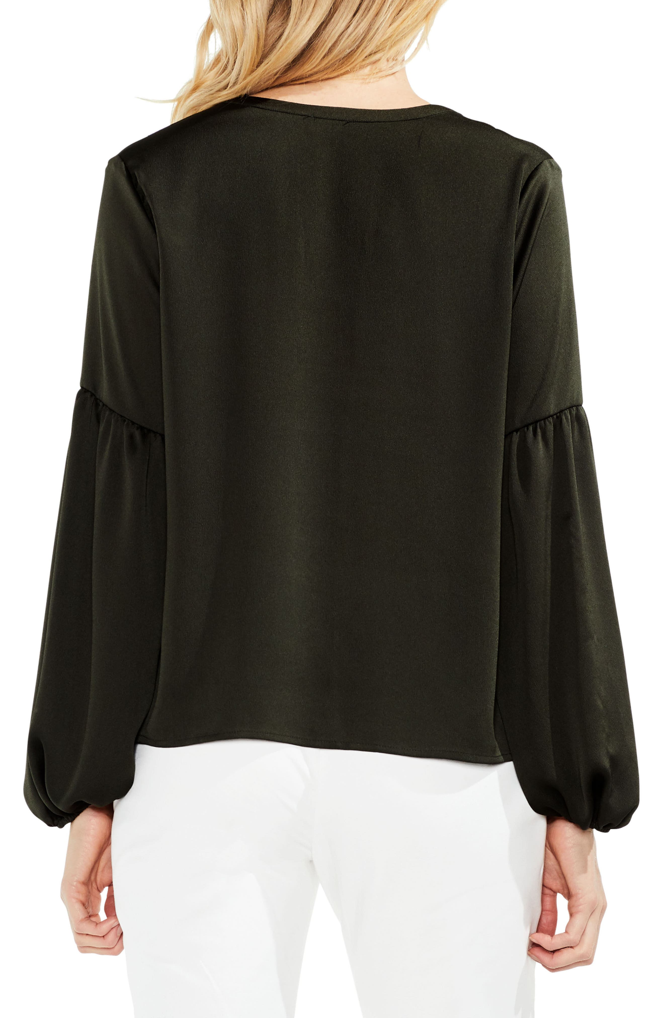 Lace-Up Hammered Satin Blouse,                             Alternate thumbnail 8, color,