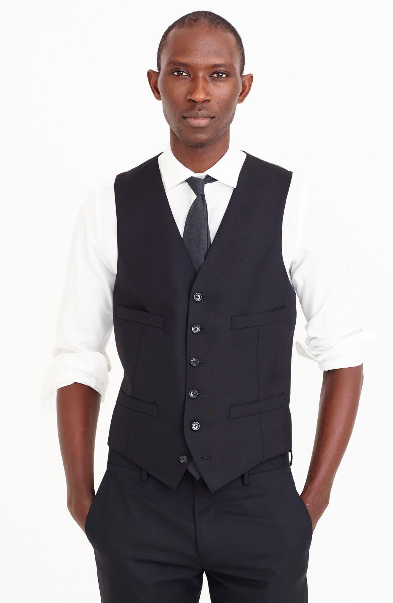 Ludlow Trim Fit Solid Wool Vest,                             Alternate thumbnail 9, color,                             001