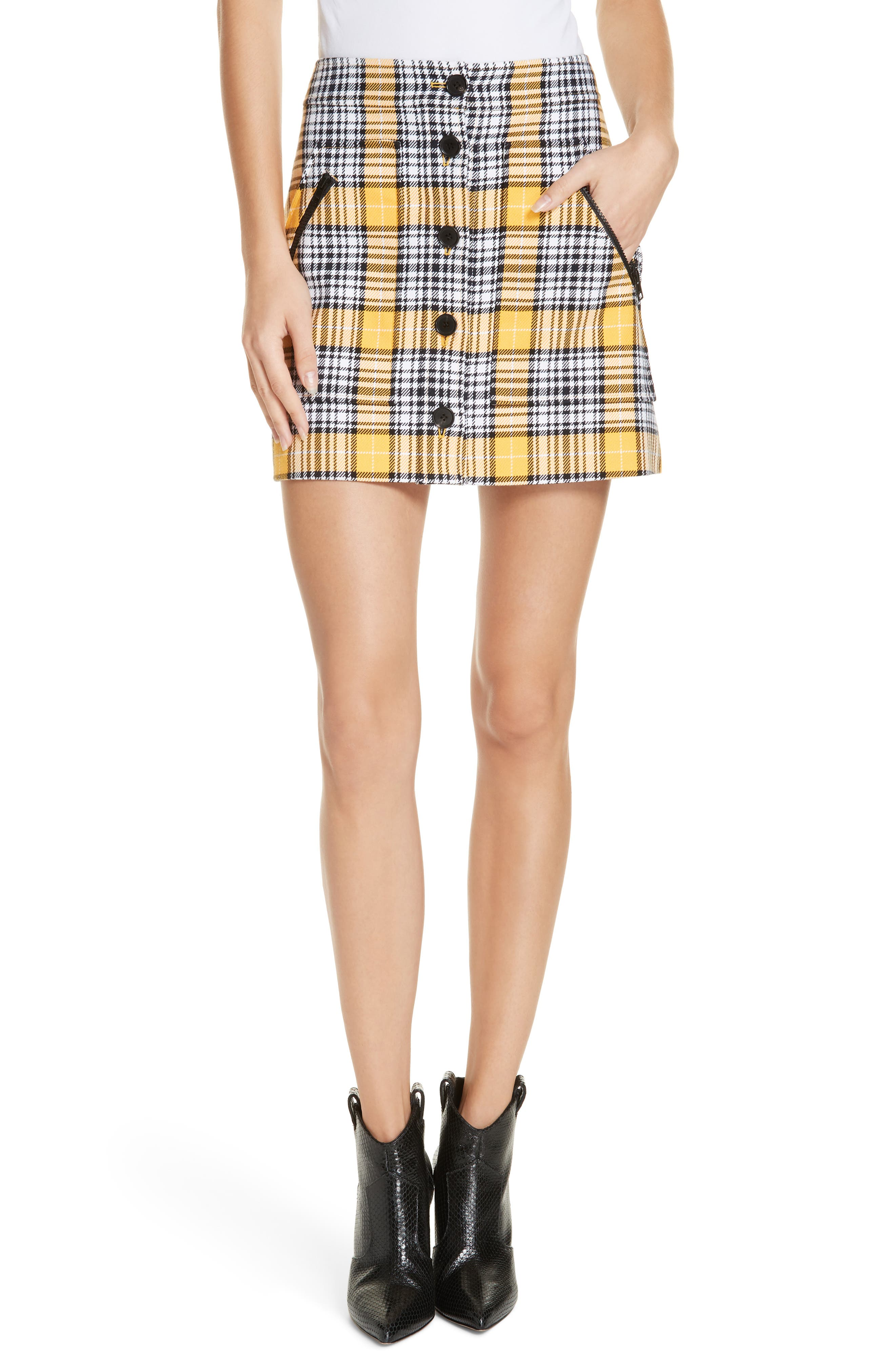 Monroe Plaid Button-Front Mini Skirt in Yellow
