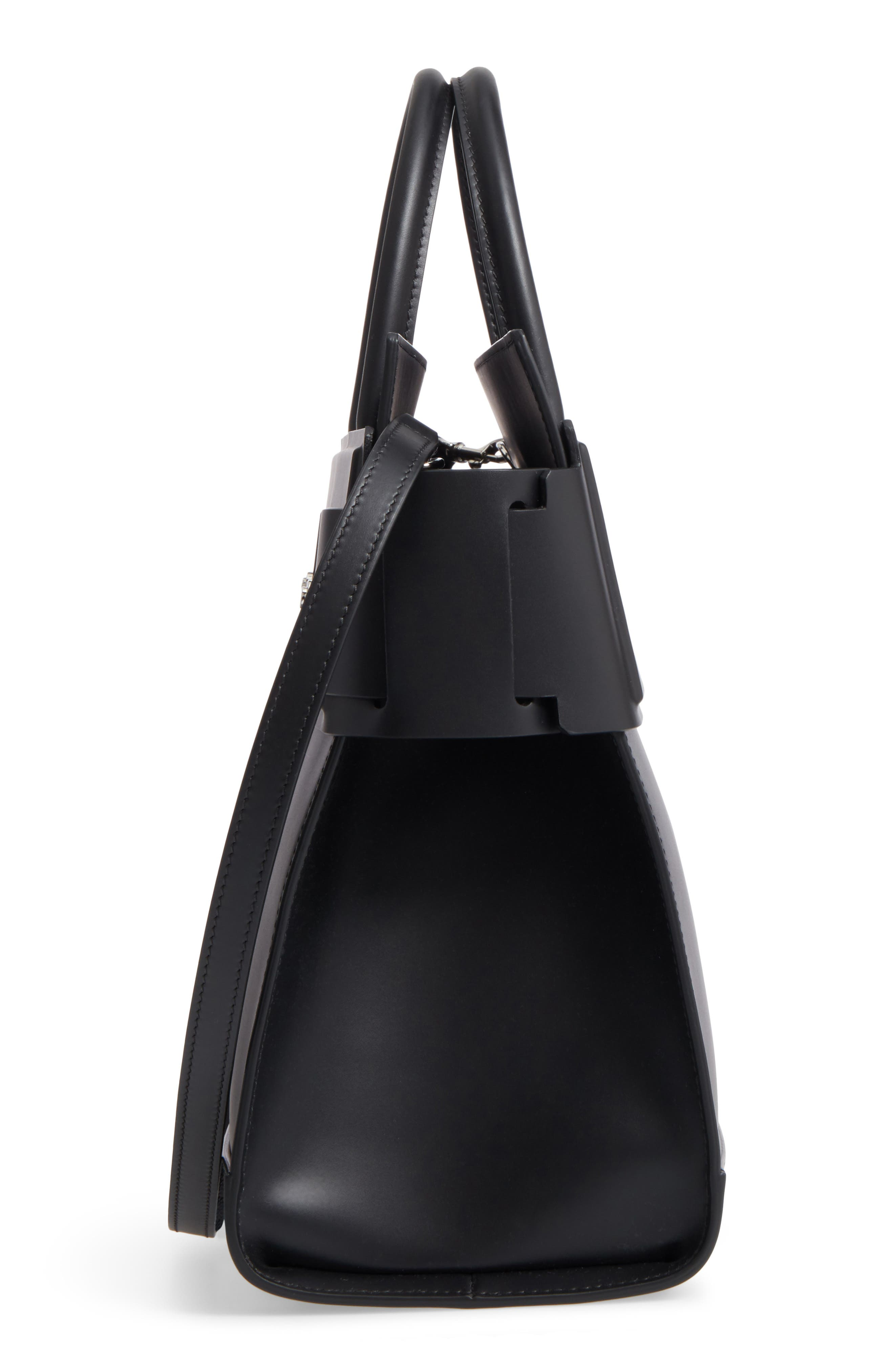 Horizon Calfskin Leather Tote,                             Alternate thumbnail 5, color,                             BLACK