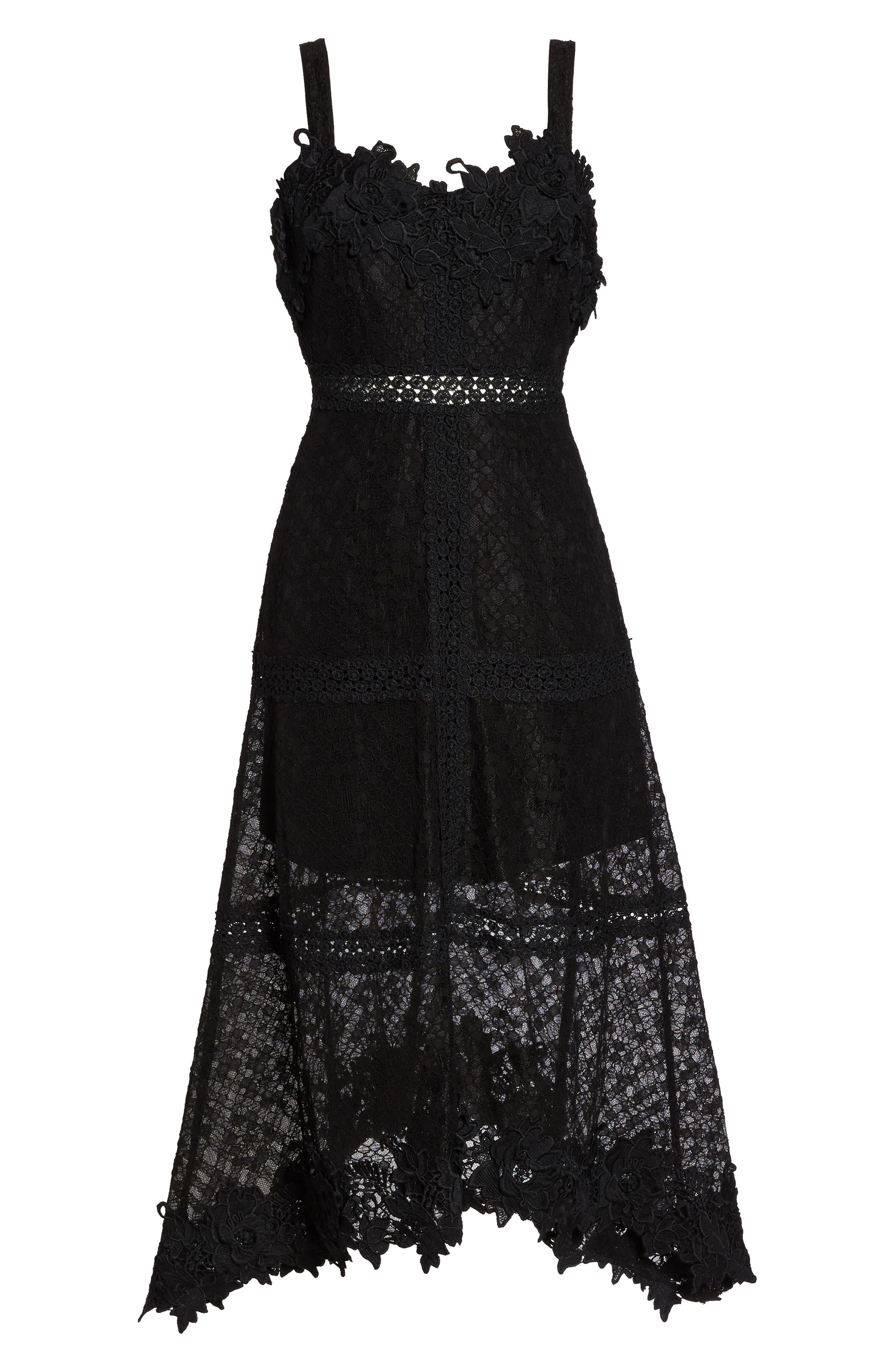 Angelisa Lace Midi Dress,                             Alternate thumbnail 7, color,                             BLACK