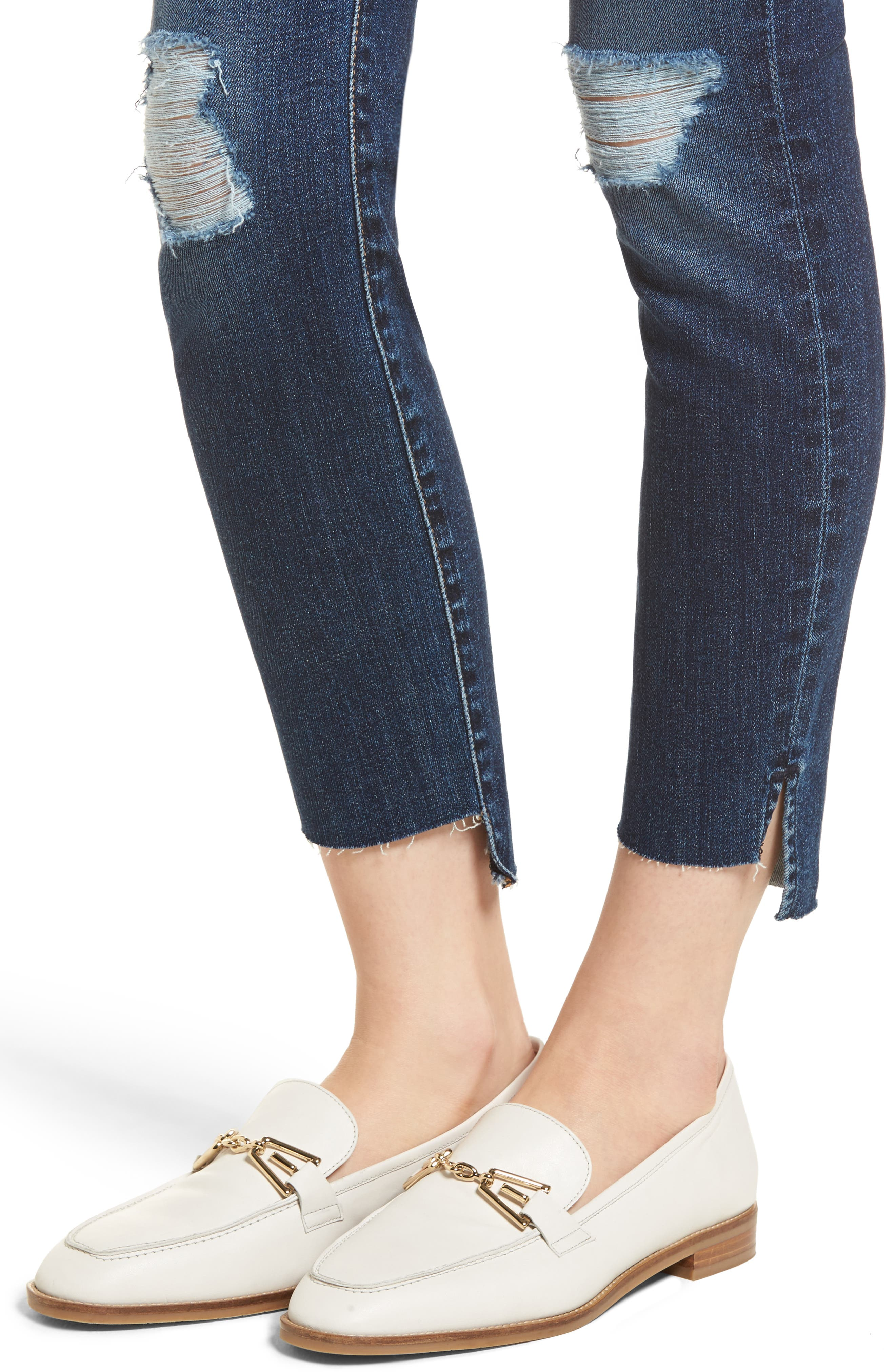 The Ankle Skinny Ripped Step Hem Jeans,                             Alternate thumbnail 4, color,