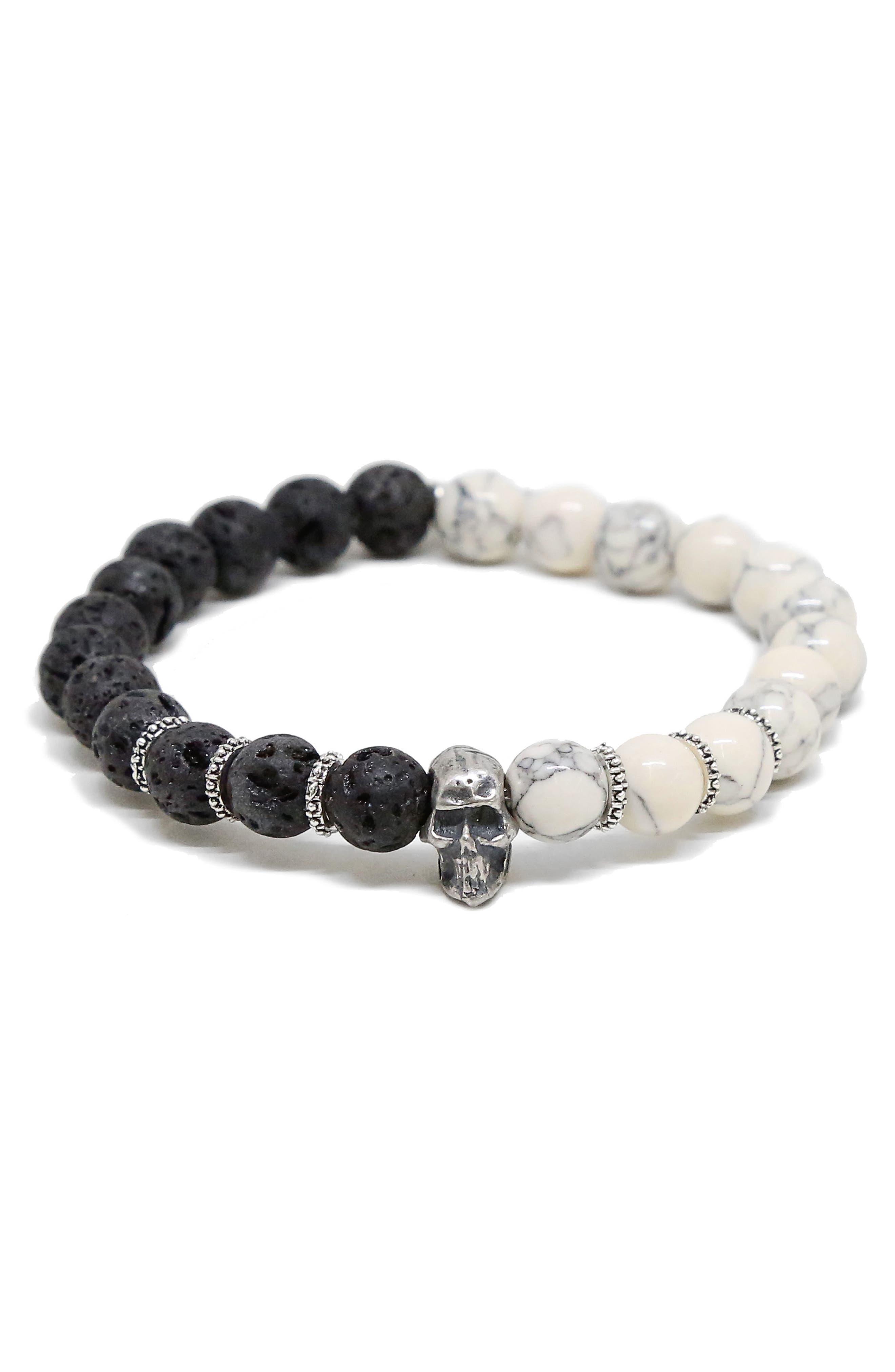 Stone Bead Bracelet,                             Main thumbnail 1, color,                             BLACK/ WHITE