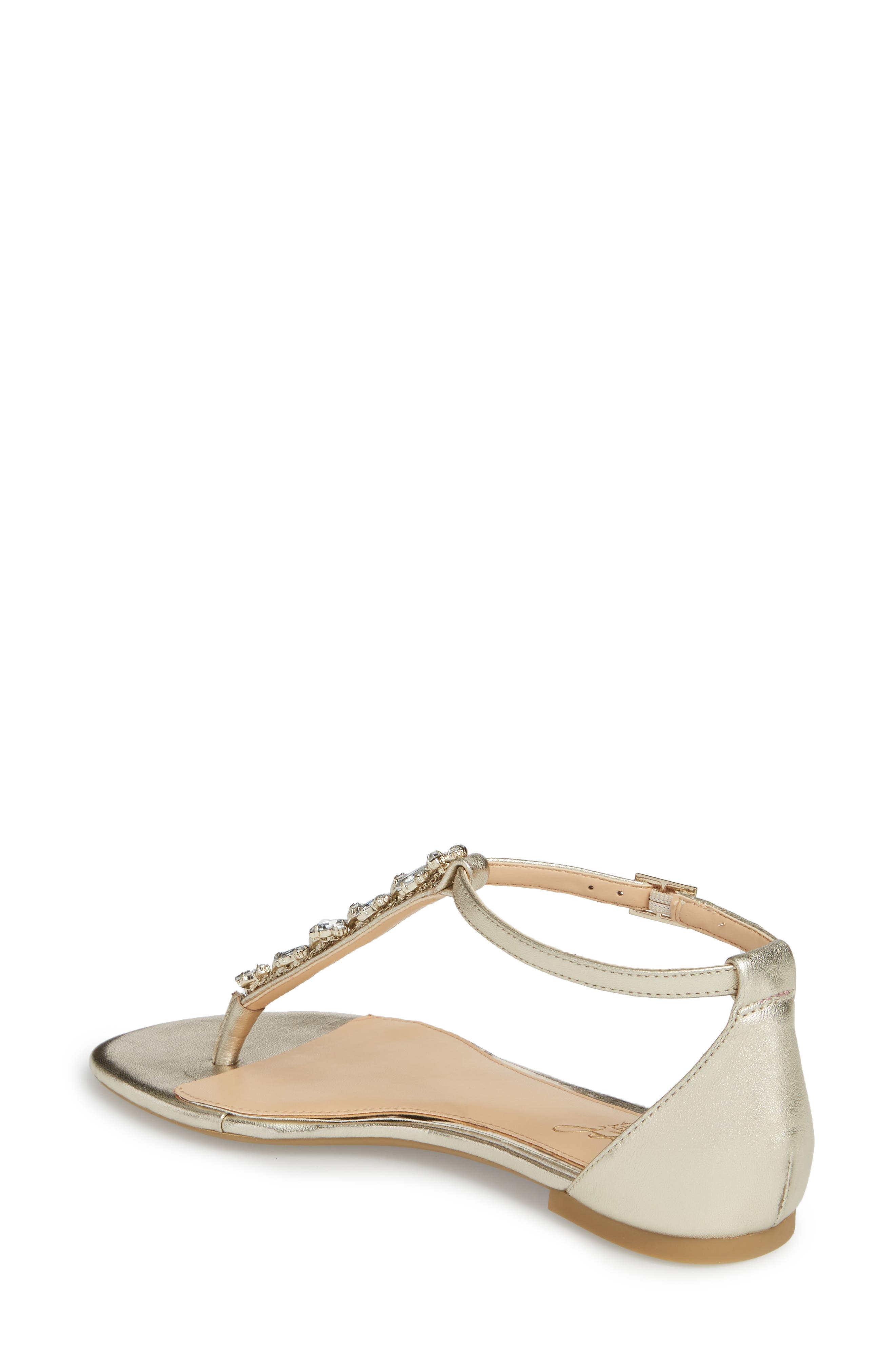 Carrol Embellished T-Strap Sandal,                             Alternate thumbnail 2, color,                             GOLD METALLIC LEATHER