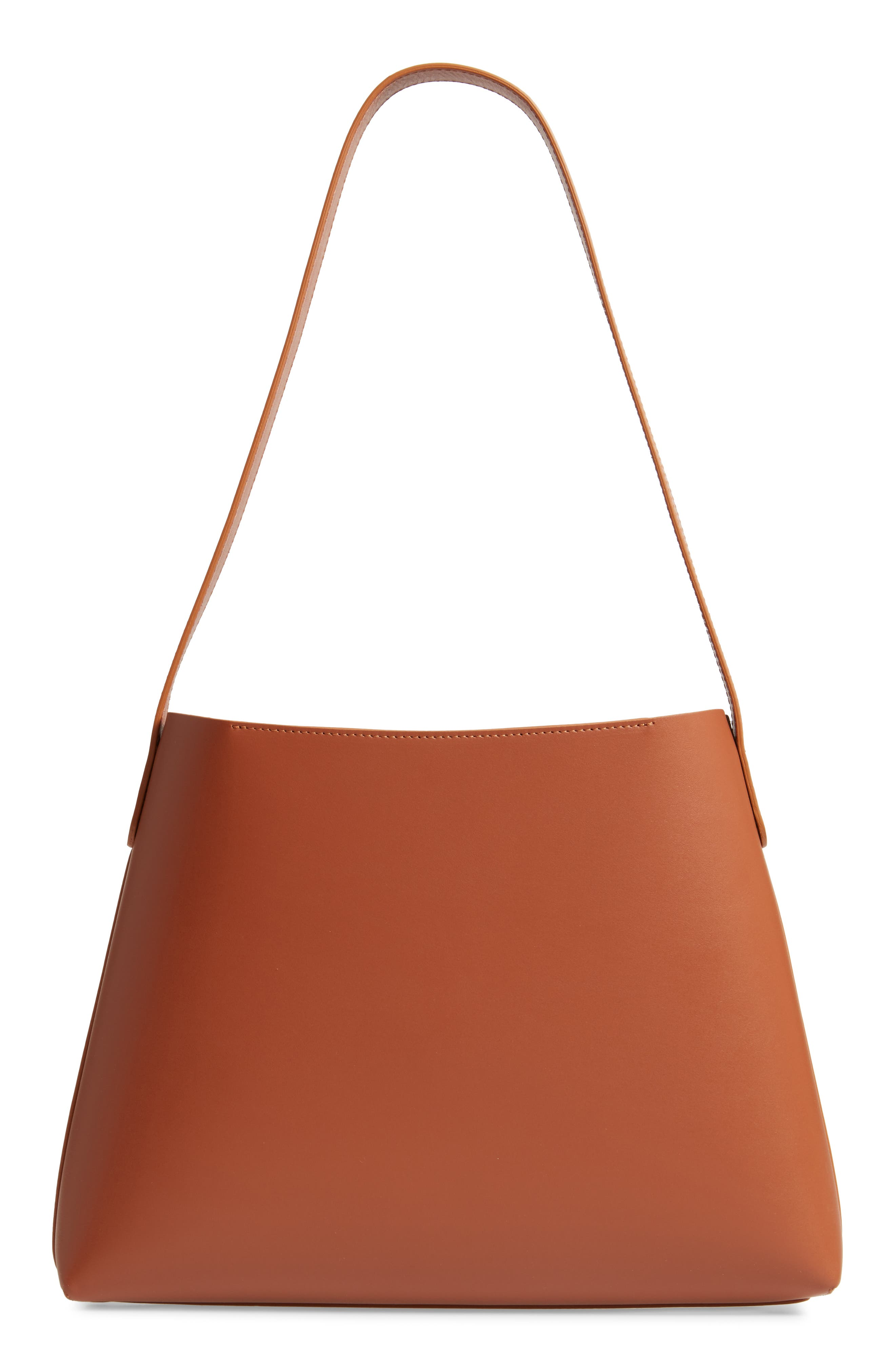 Small Leather Hobo,                             Alternate thumbnail 3, color,                             SADDLE