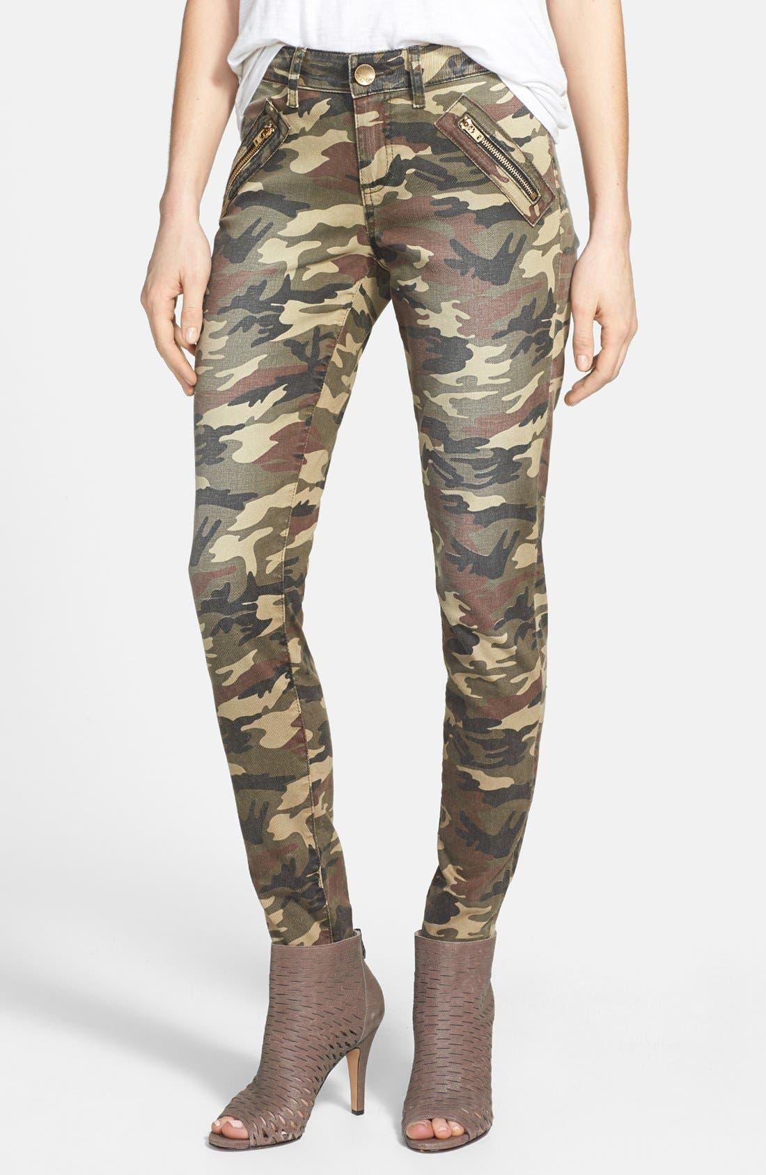 'Mia' Camo Skinny Jeans,                             Main thumbnail 1, color,                             317