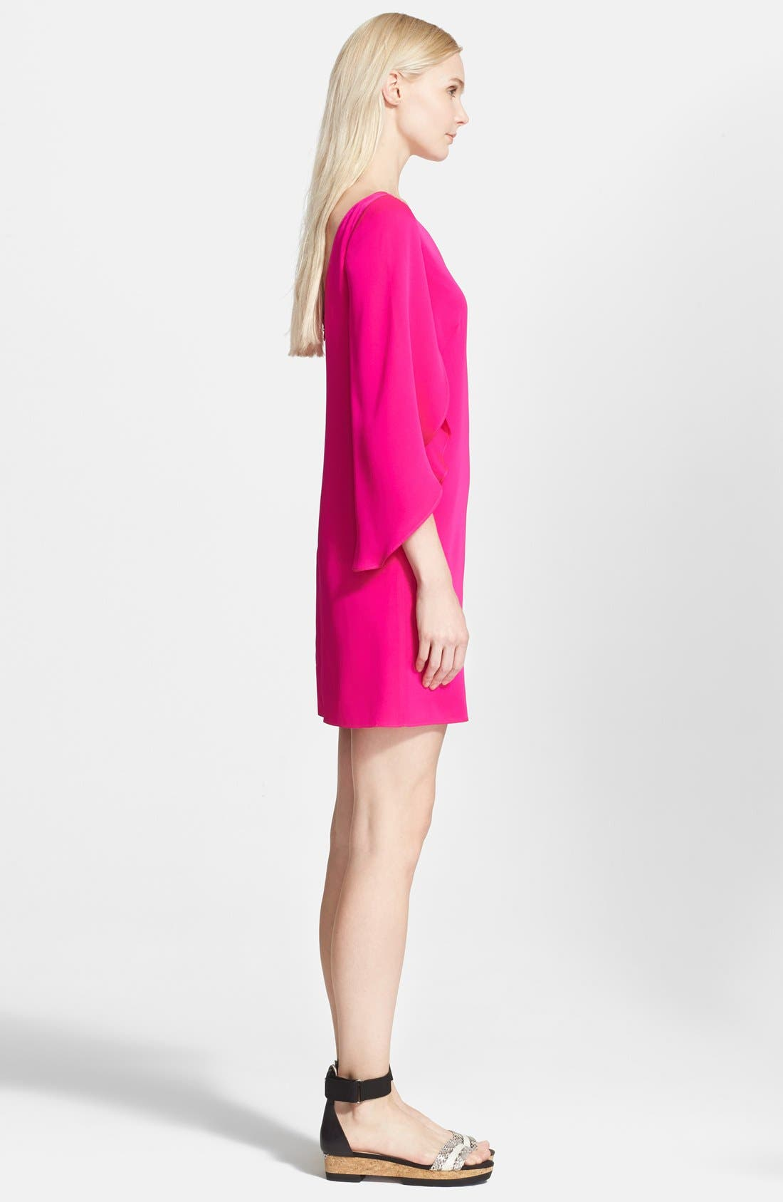 Butterfly Sleeve Stretch Silk Crepe Minidress,                             Alternate thumbnail 19, color,