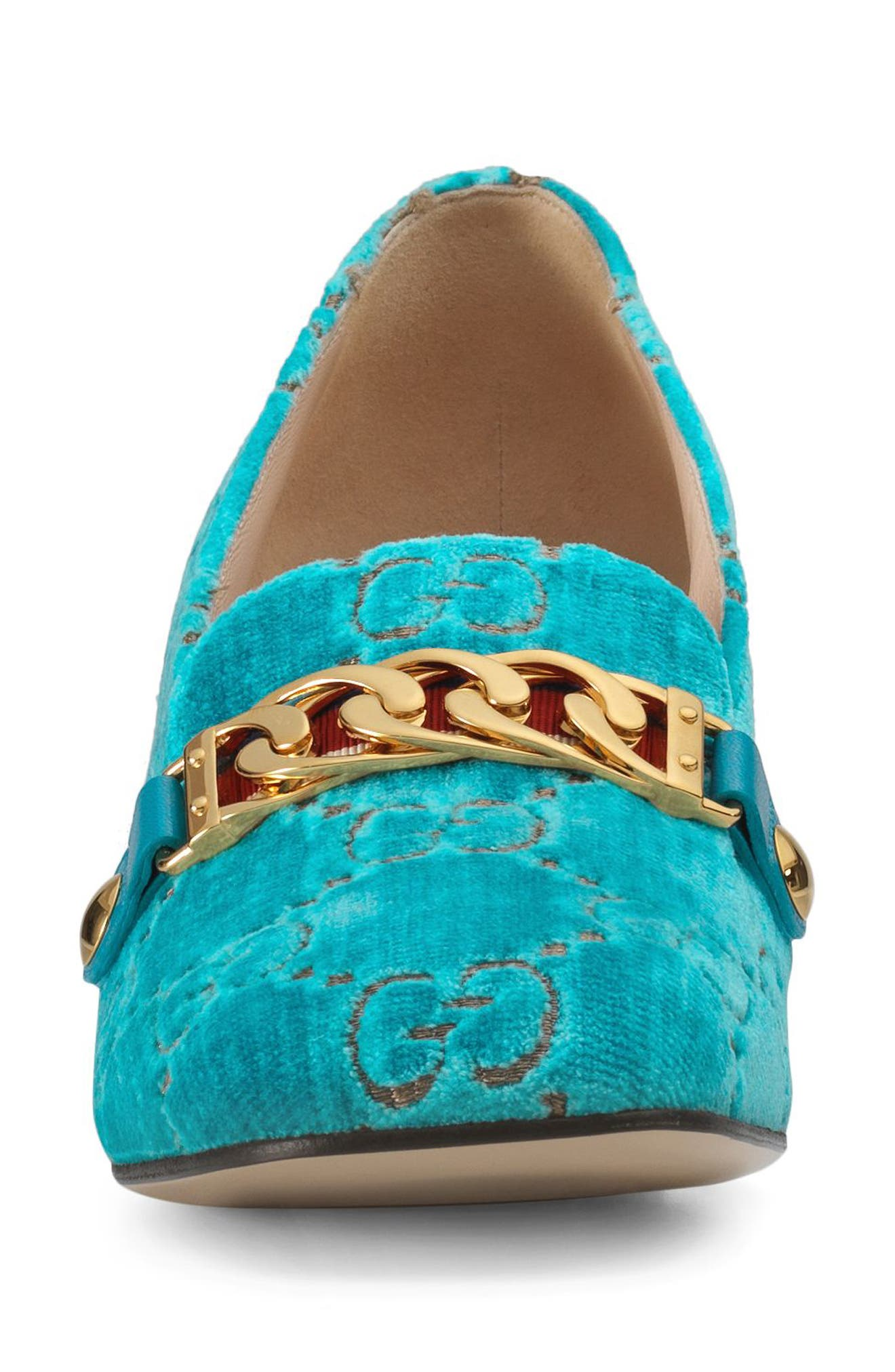 GUCCI,                             Sylvie Loafer Pump,                             Alternate thumbnail 4, color,                             TURQUOISE