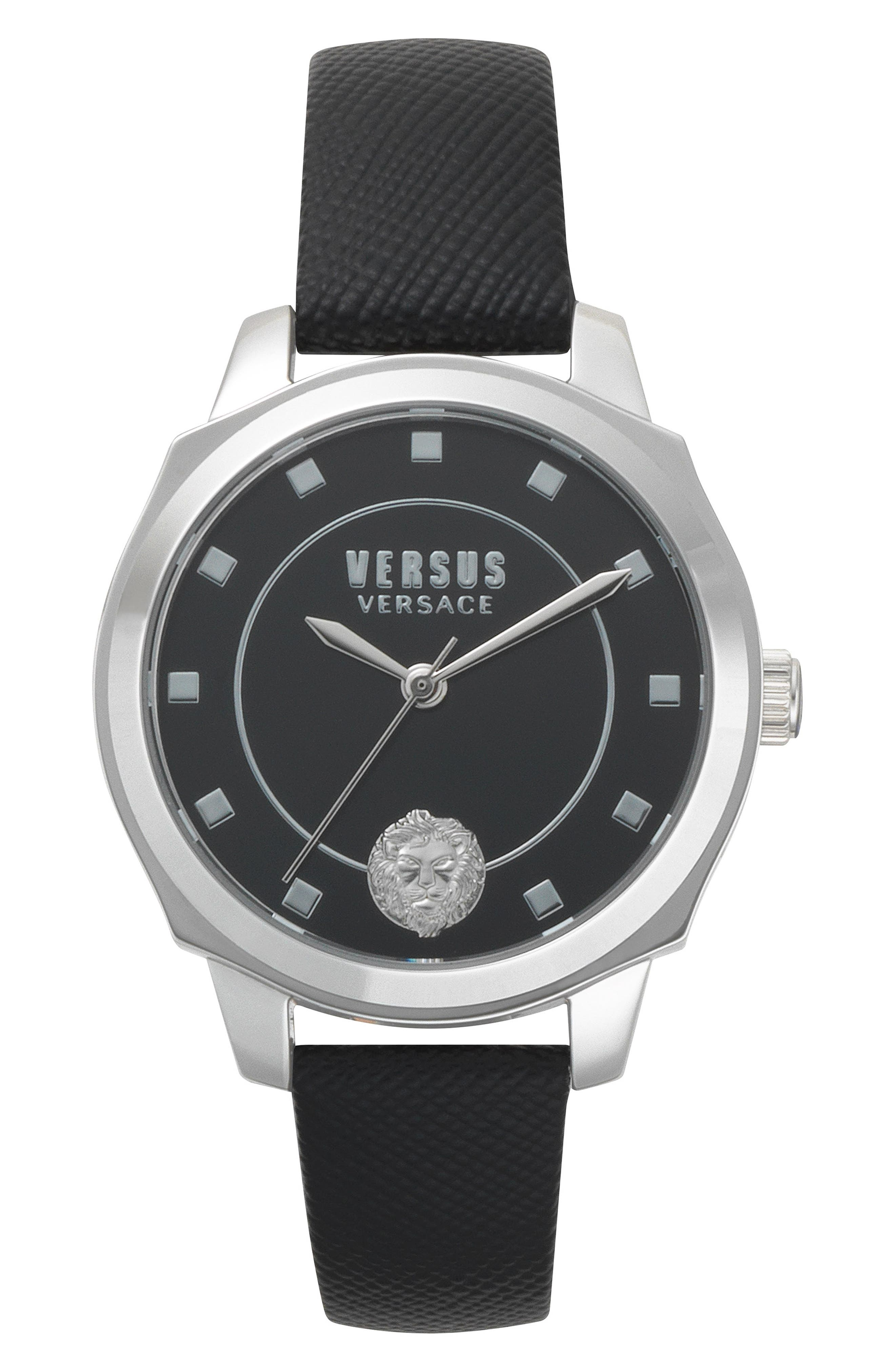 Chelsea Leather Strap Watch, 34mm,                         Main,                         color, BLACK/ SILVER