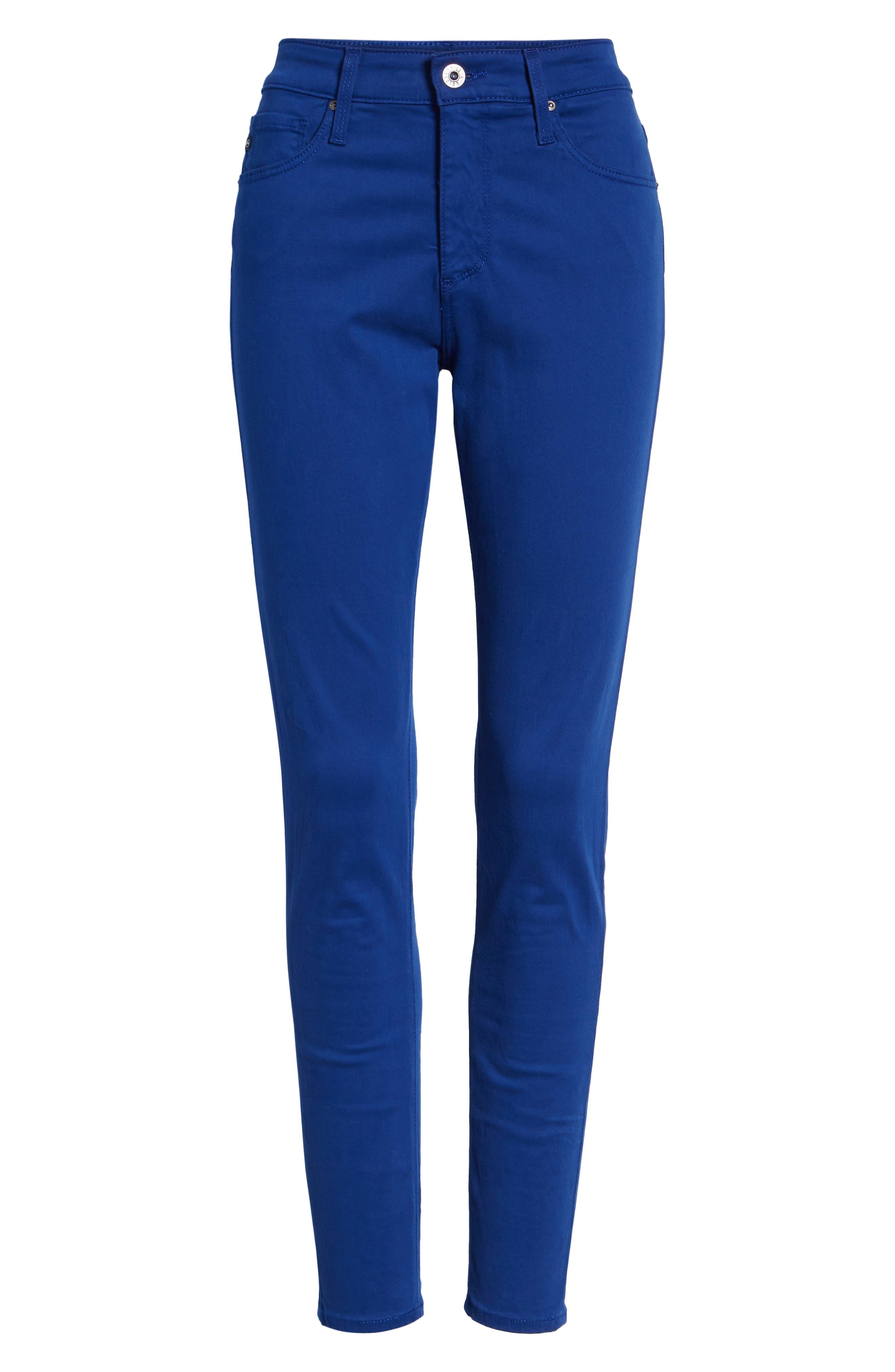 Farrah High Waist Ankle Skinny Jeans,                             Alternate thumbnail 7, color,                             EGYPTIAN BLUE