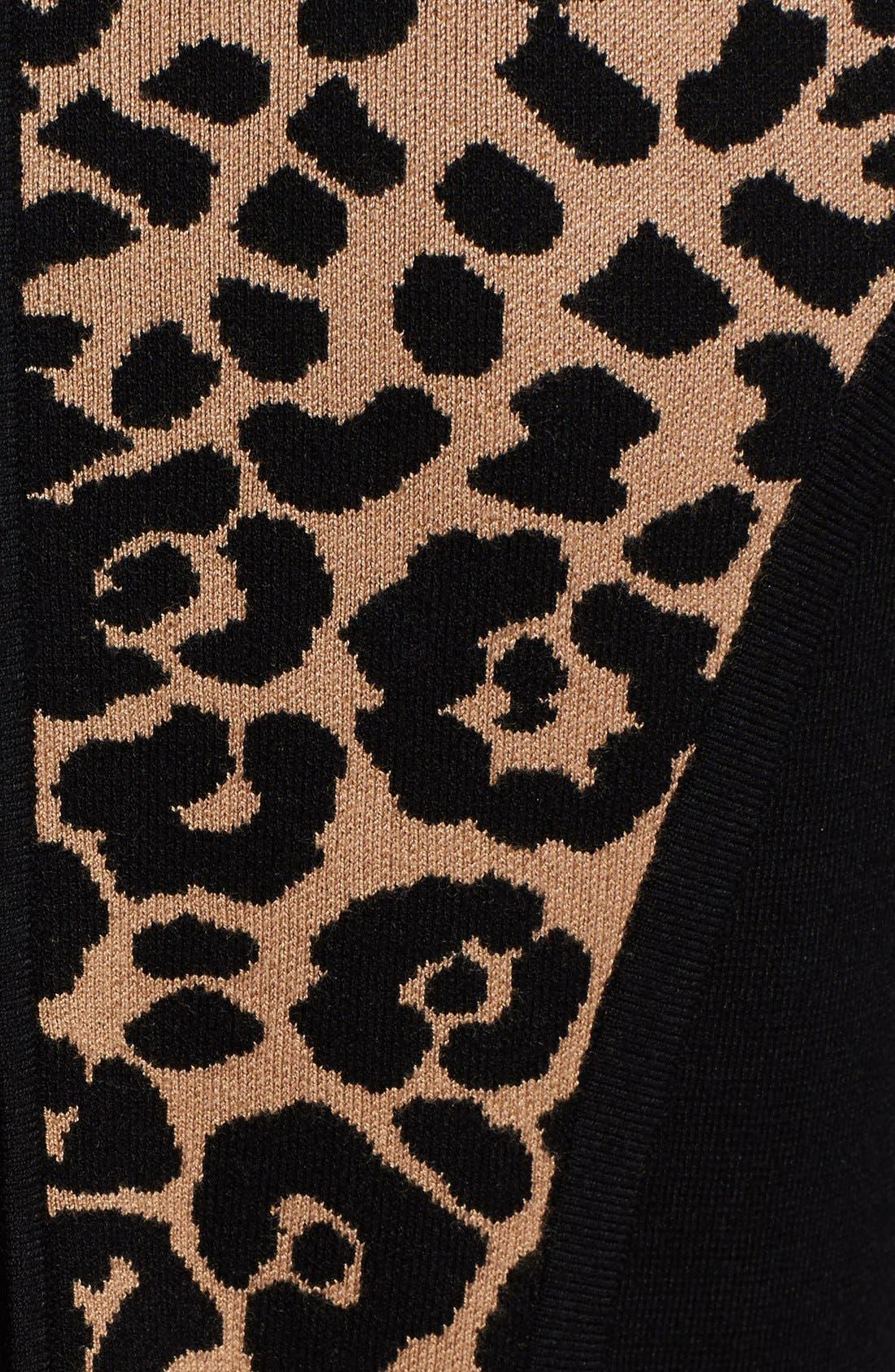 Cheetah Jacquard Sheath Dress,                             Alternate thumbnail 3, color,                             001