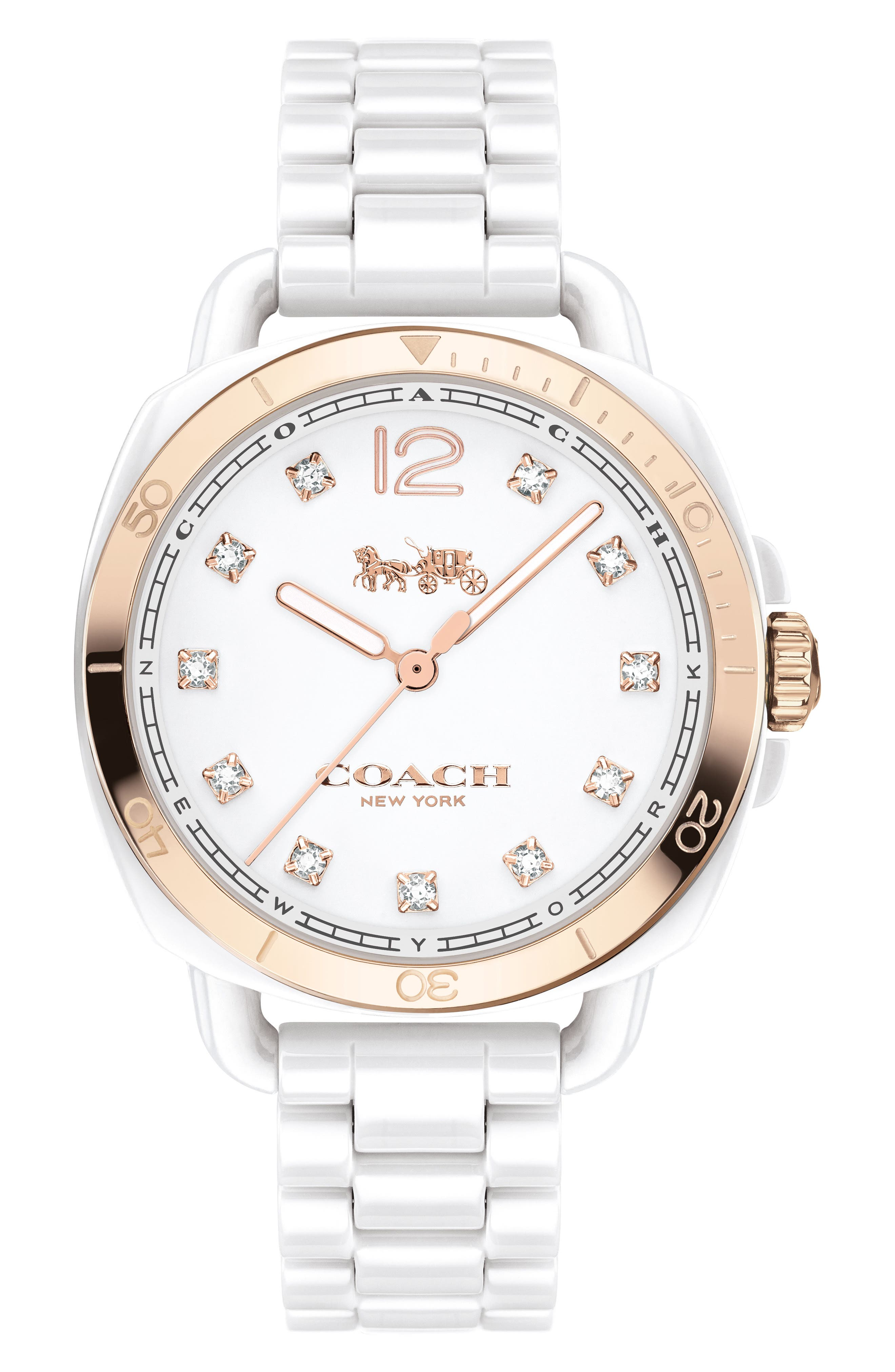 Tatum Ceramic Bracelet Watch, 34mm,                             Main thumbnail 1, color,                             WHITE/ GOLD