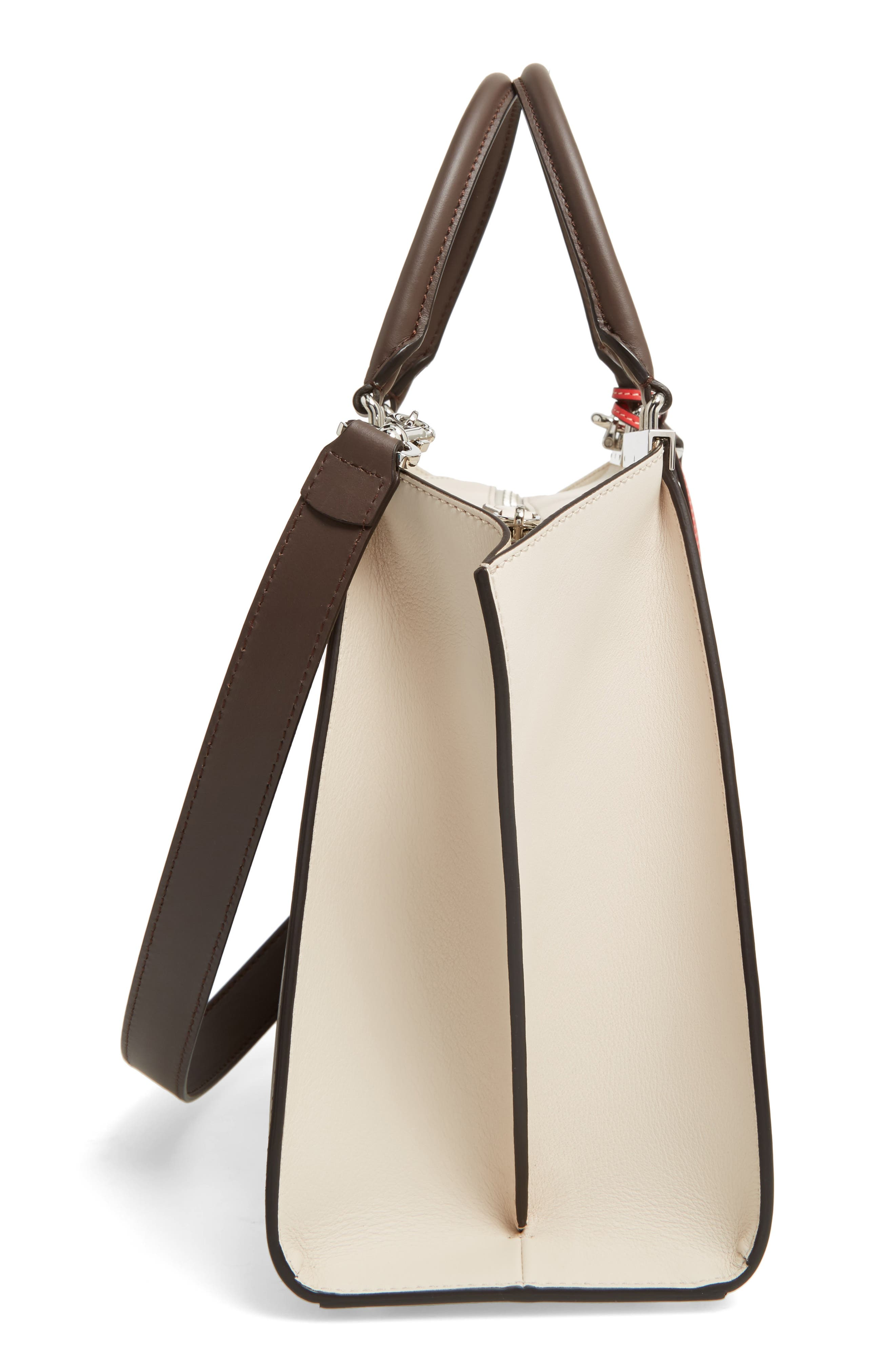 3Jours Colorblock Calfskin Leather Shopper,                             Alternate thumbnail 6, color,                             CHOCOLATE/ WHITE