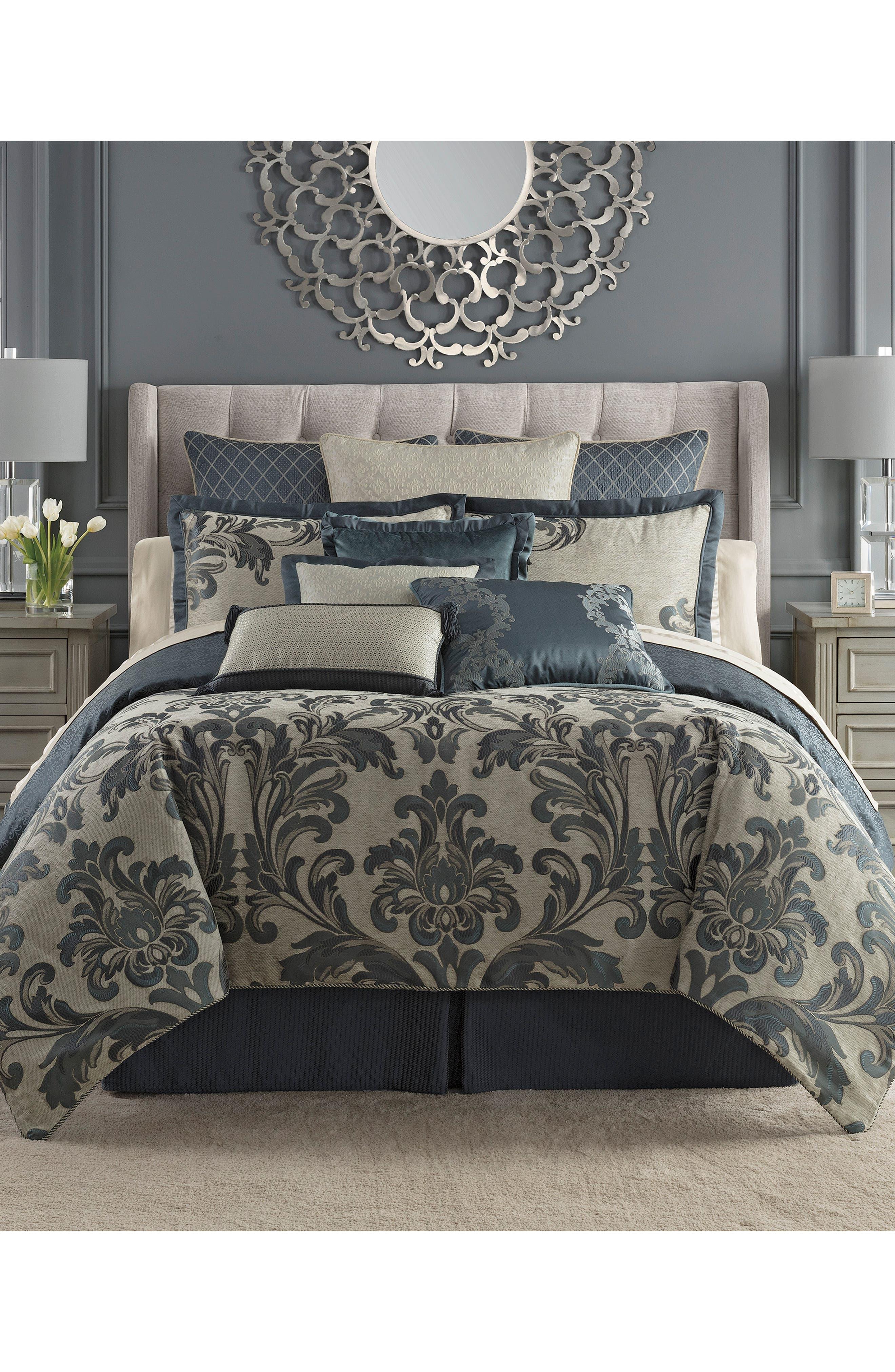 Everett Reversible Comforter, Sham & Bed Skirt Set, Main, color, TEAL