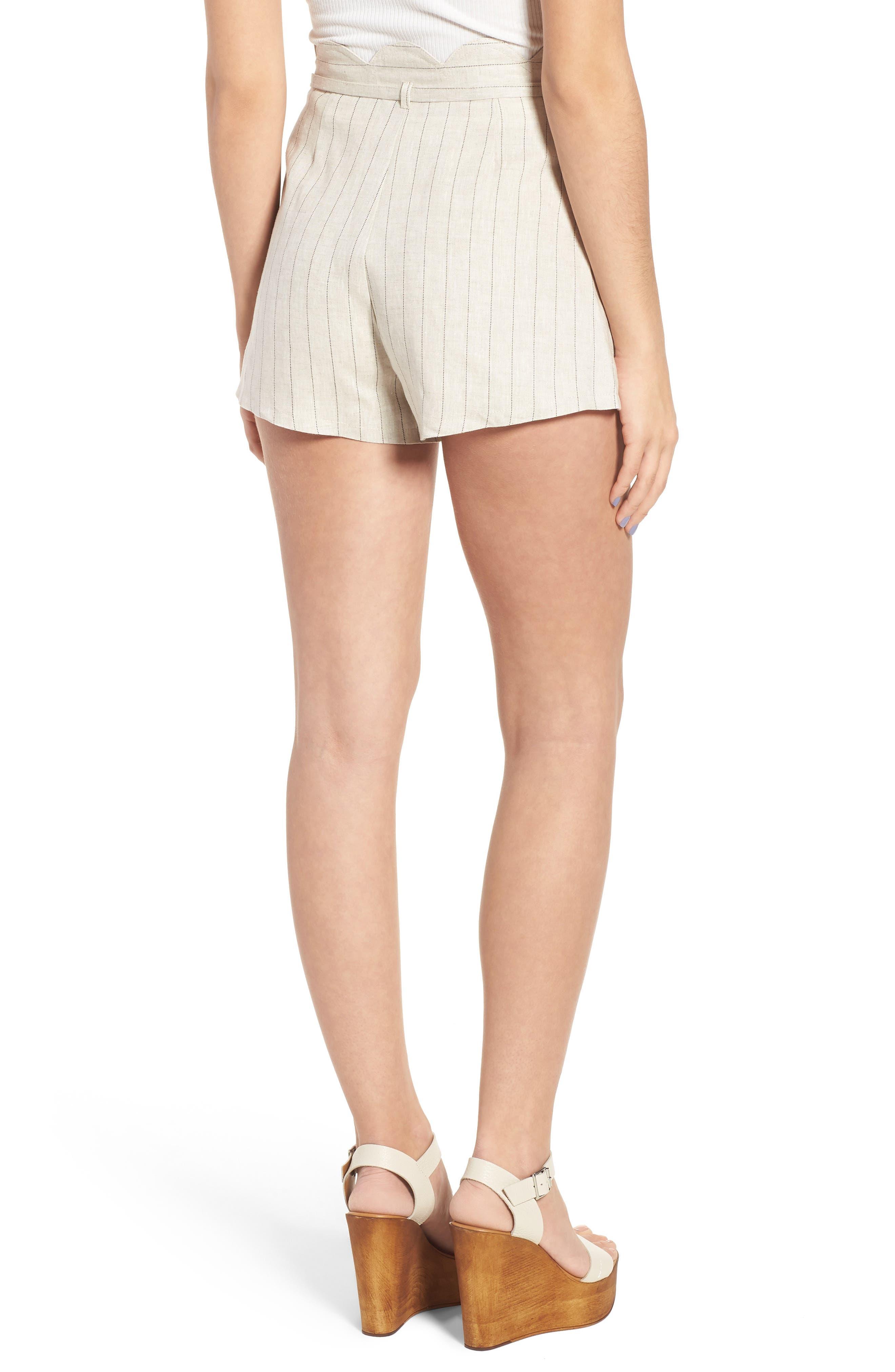 Scallop Waist Linen Shorts,                             Alternate thumbnail 2, color,